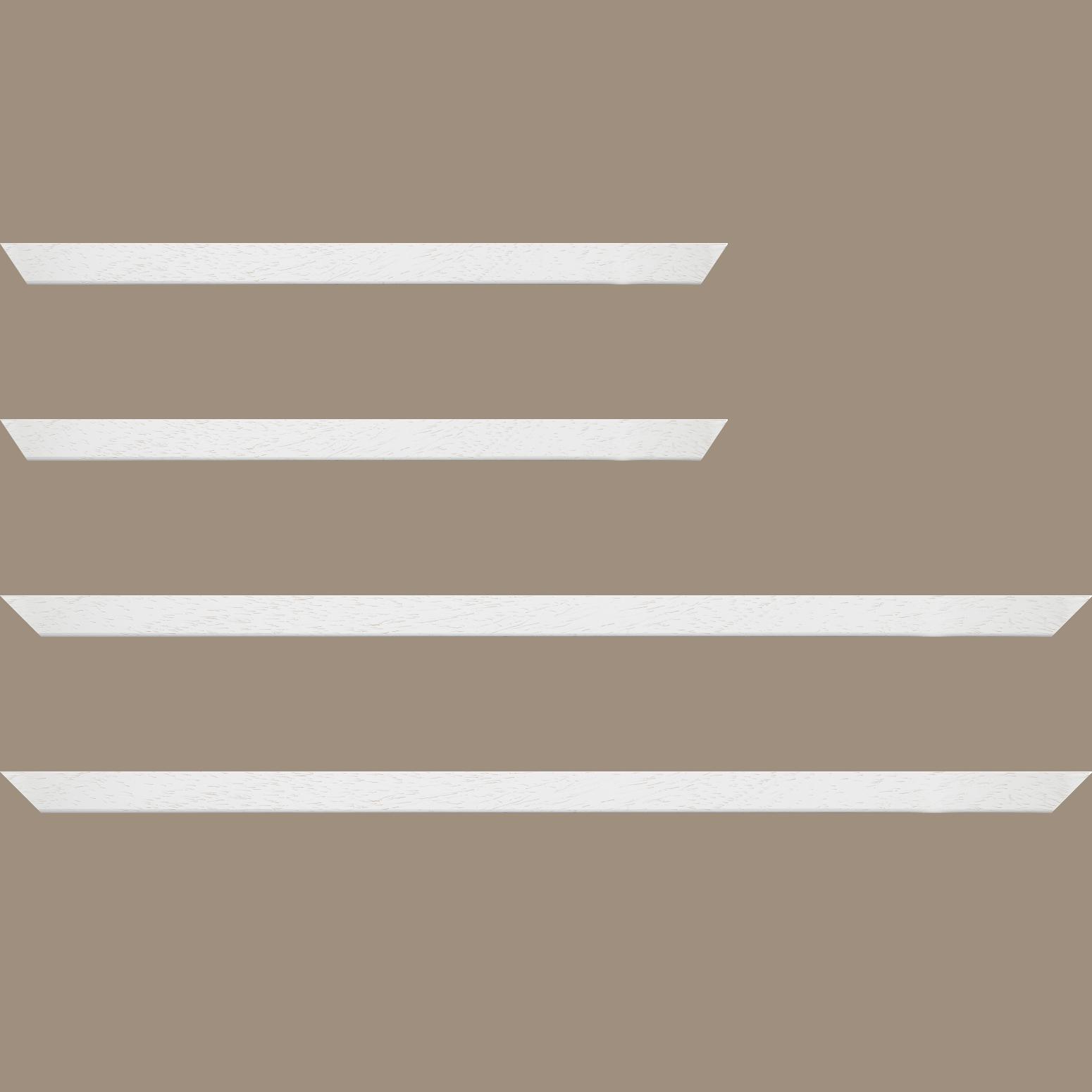 Baguette service précoupé Bois profil plat largeur 2cm couleur blanc satiné