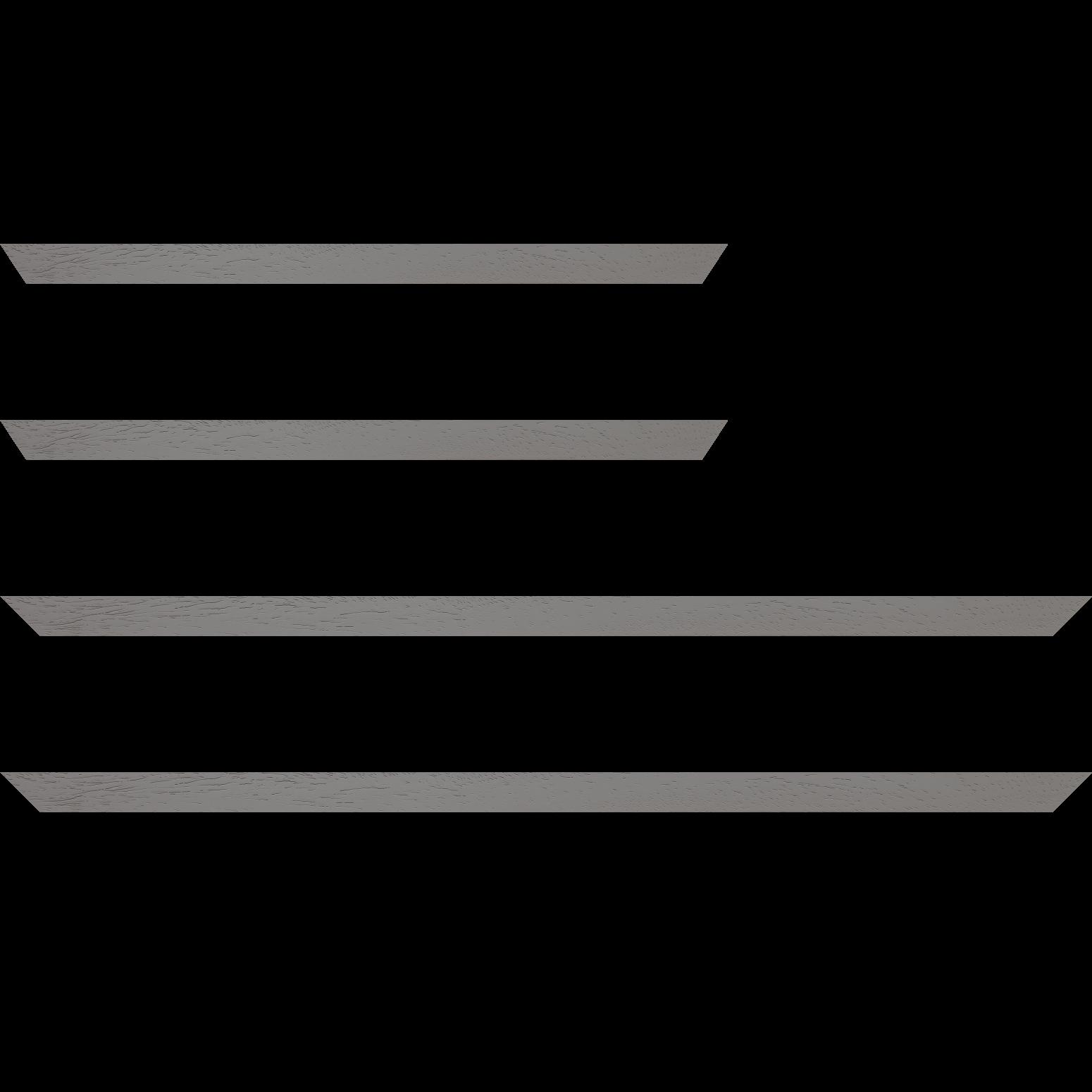 Baguette service précoupé Bois profil plat largeur 2cm couleur gris clair satiné