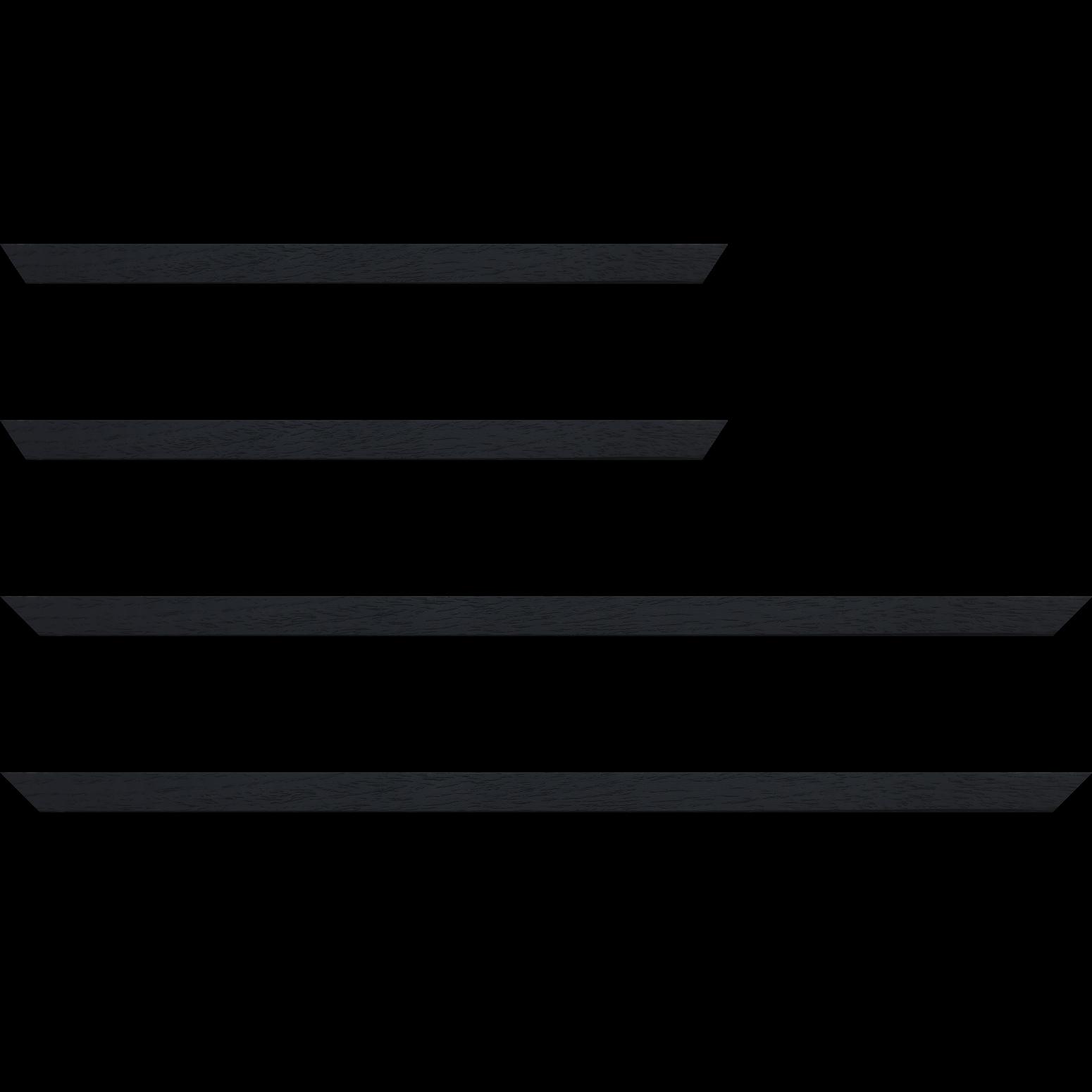 Baguette service précoupé Bois profil plat largeur 2cm couleur noir satiné