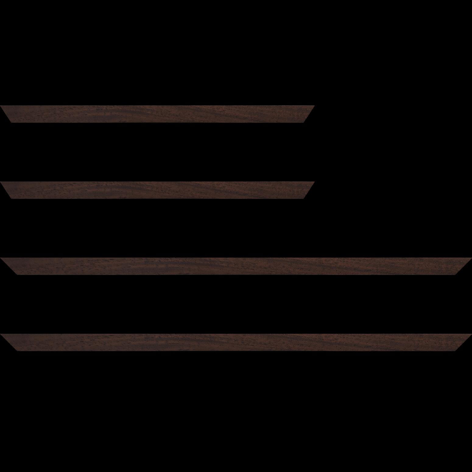 Baguette service précoupé Bois profil plat largeur 2cm couleur marron foncé satiné
