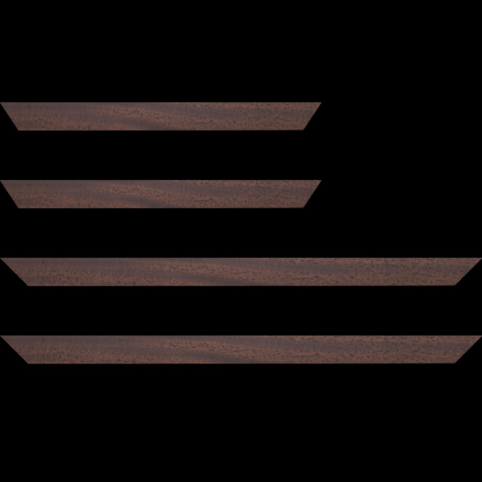 Baguette service précoupé Bois profil plat largeur 3cm couleur marron foncé satiné