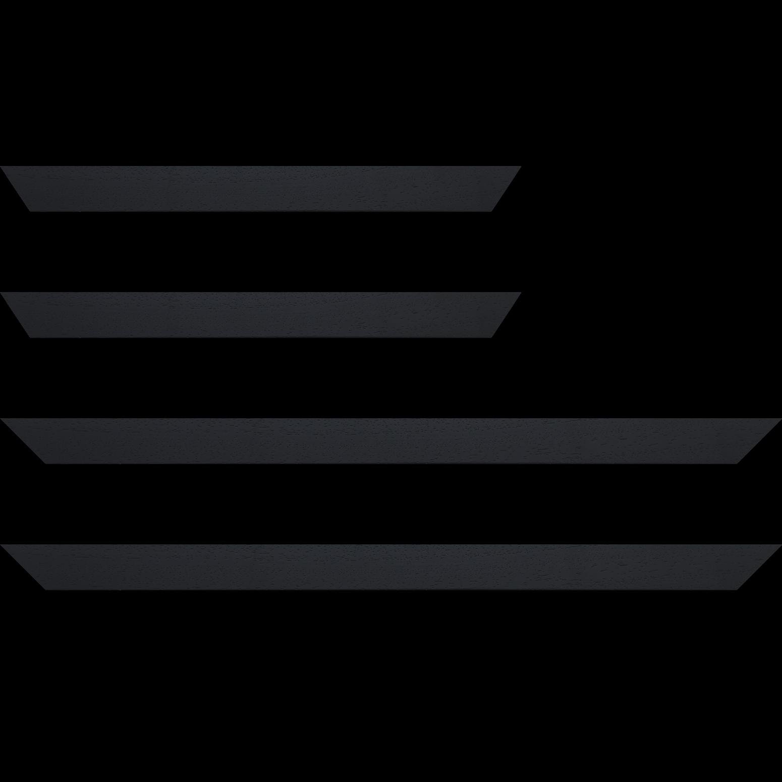 Baguette service précoupé Bois profil plat largeur 3cm couleur noir satiné