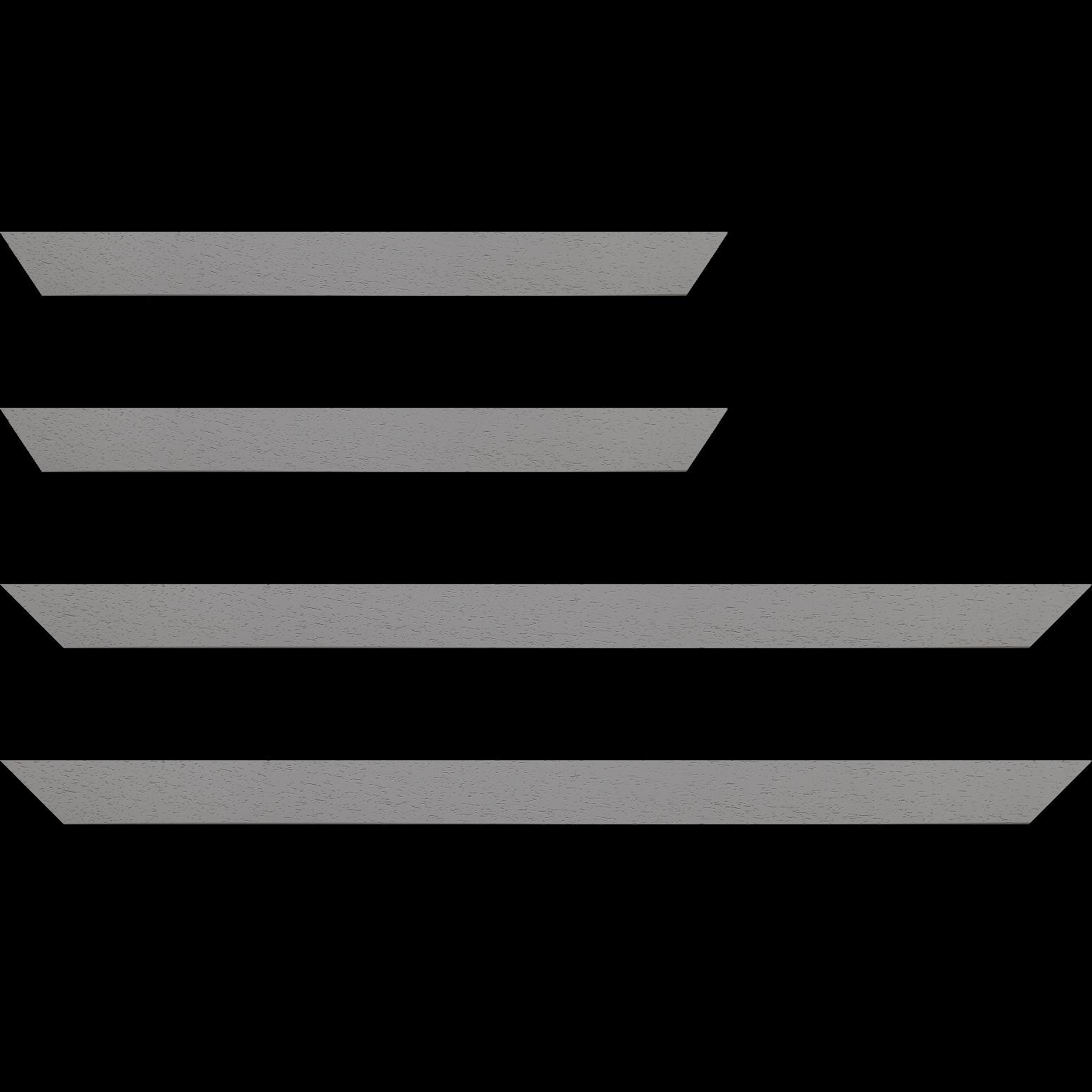Baguette service précoupé Bois profil plat largeur 3cm couleur gris clair satiné