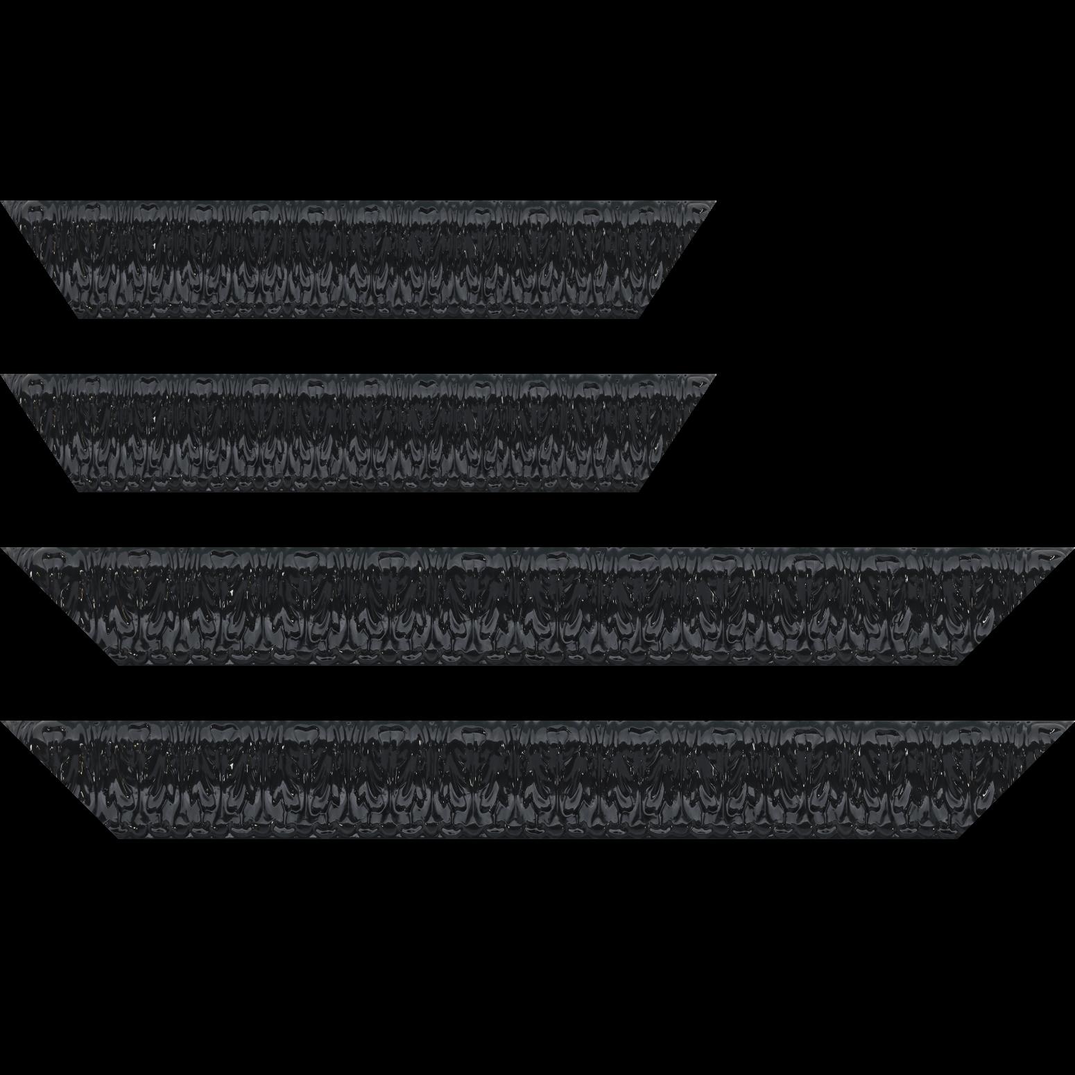 Baguette service précoupé Bois profil incurvé largeur 5.3cm couleur noir laqué style baroque