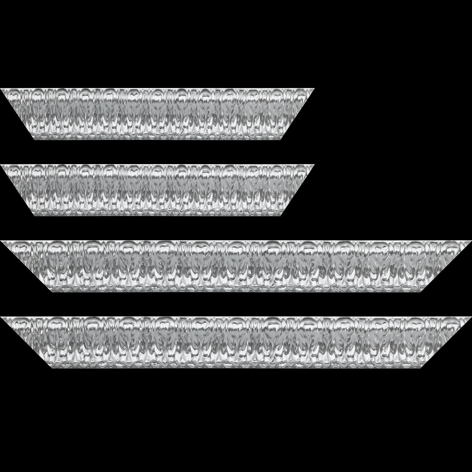 Baguette service précoupé Bois profil incurvé largeur 5.3cm couleur argent ckromé  style baroque
