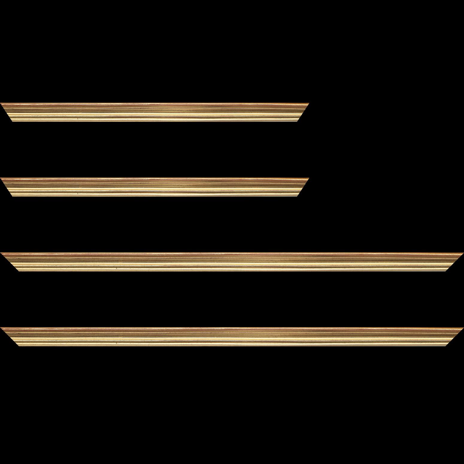 Baguette service précoupé Bois profil incurvé largeur 2.1cm or patiné à la feuille