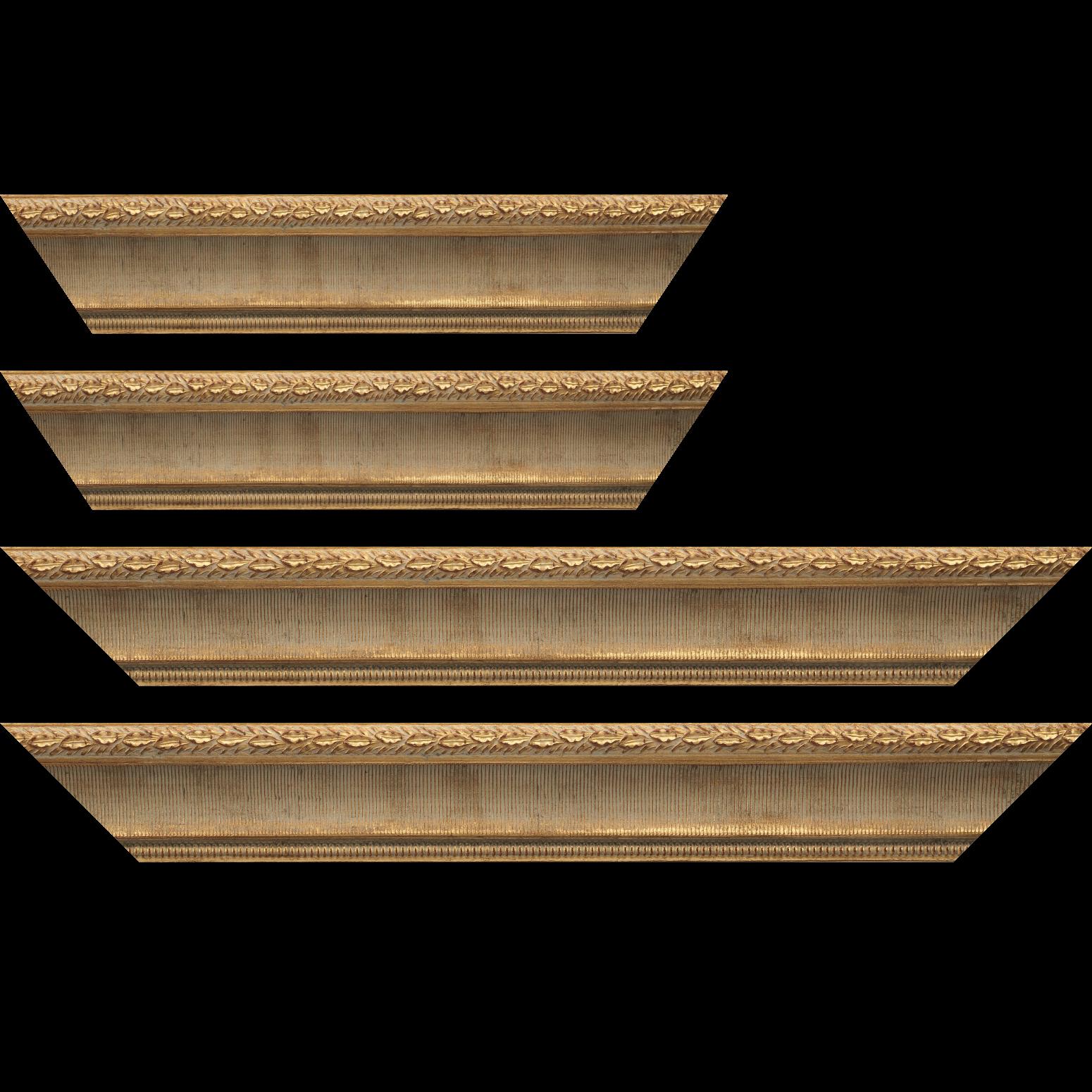 Baguette service précoupé Bois profil incurvé largeur 6cm or antique  empire à canaux
