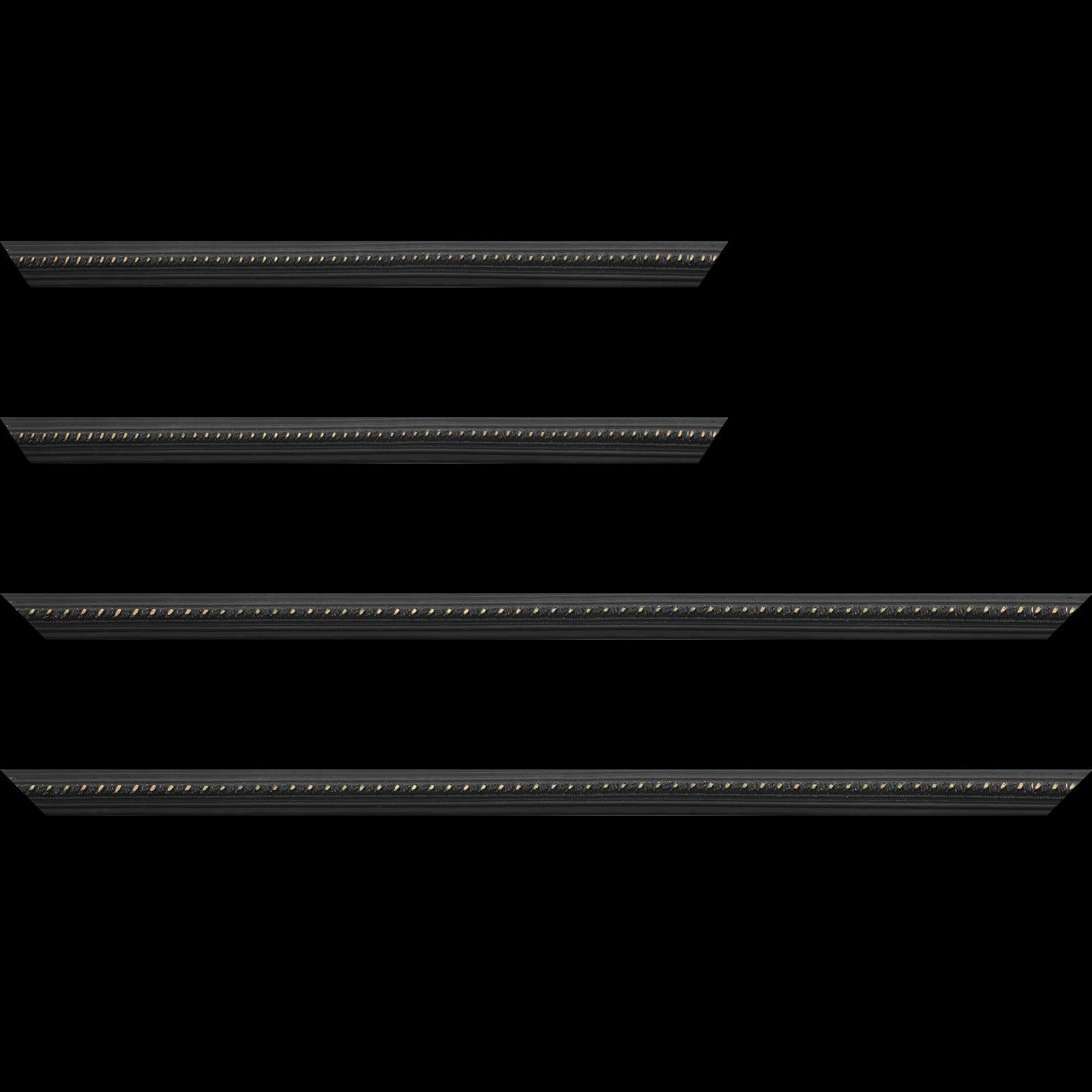 Baguette service précoupé Bois profil bombé largeur 2cm couleur noir antique style