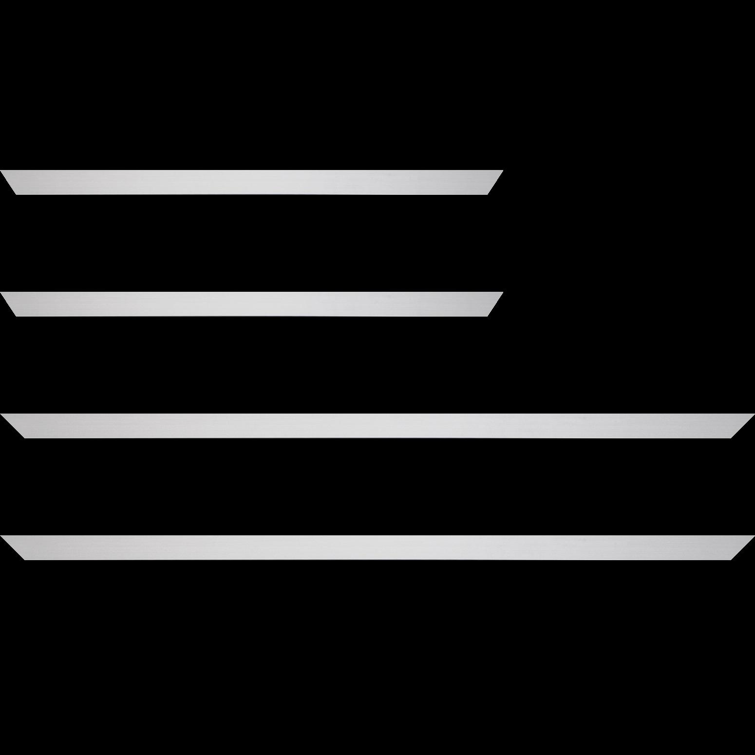 Baguette service précoupé Bois recouvert aluminium profil plat largeur 1.6cm argent brossé bord droit