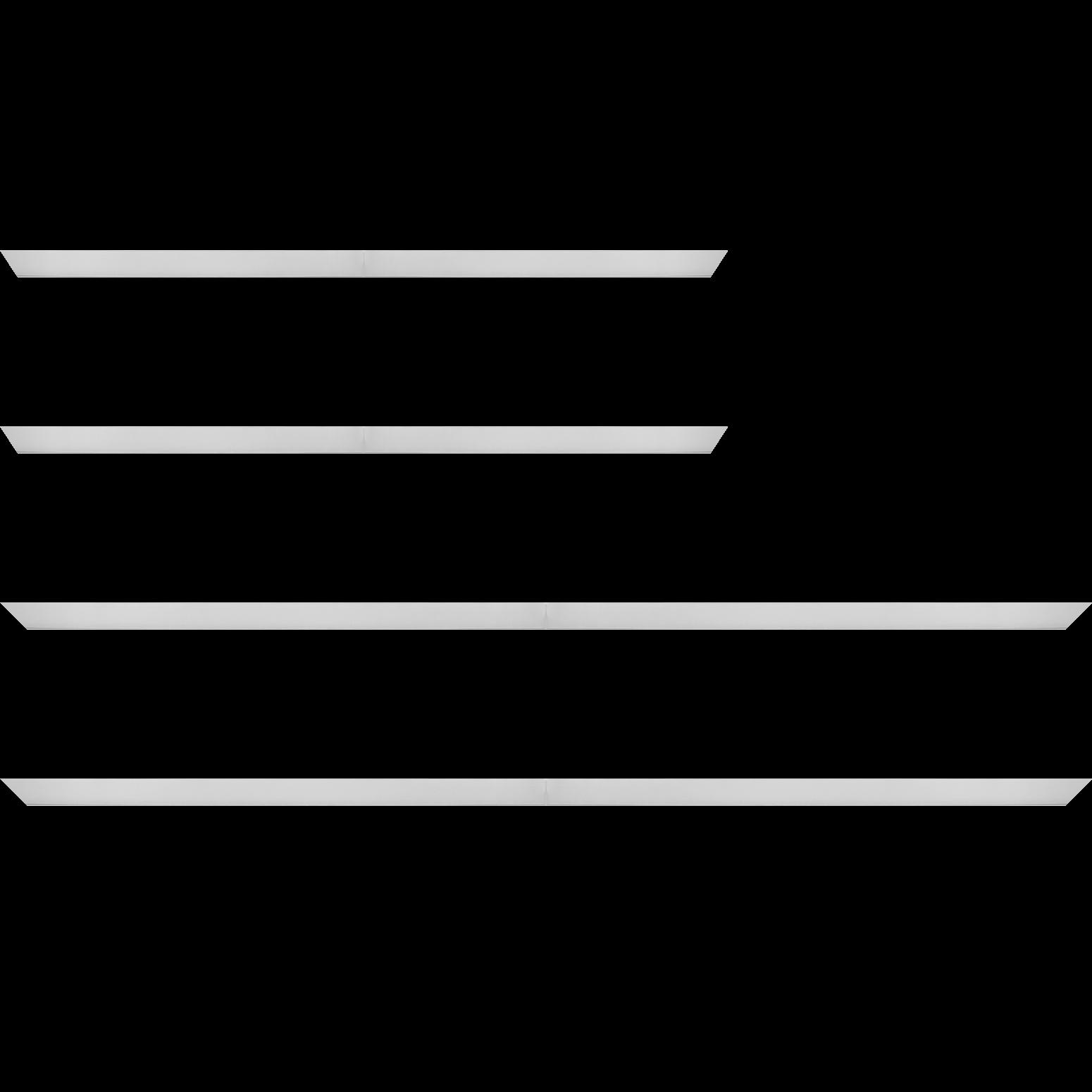 Baguette service précoupé Bois recouvert aluminium profil plat largeur 2.5cm argent brossé bord droit