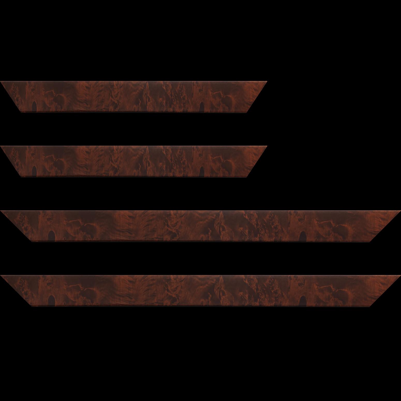 Baguette service précoupé Bois loupe véritable vernis largeur 4cm essence peuplier