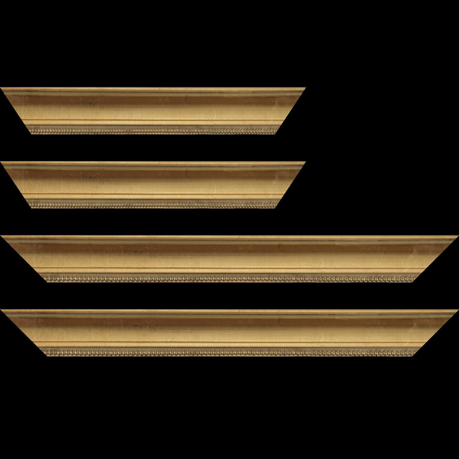 Baguette service précoupé Bois profil incurvé largeur 5cm or à la feuille filet perle