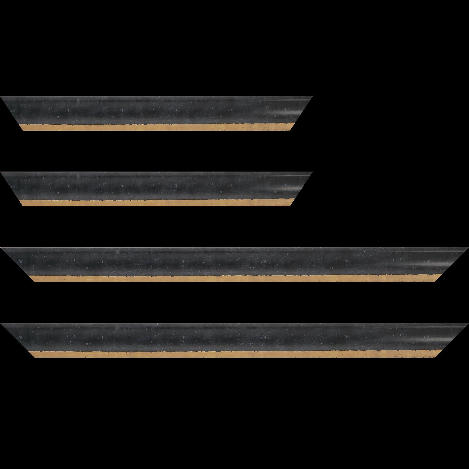 Baguette service précoupé Bois profil incurvé largeur 3.9cm noir tamisé filet or