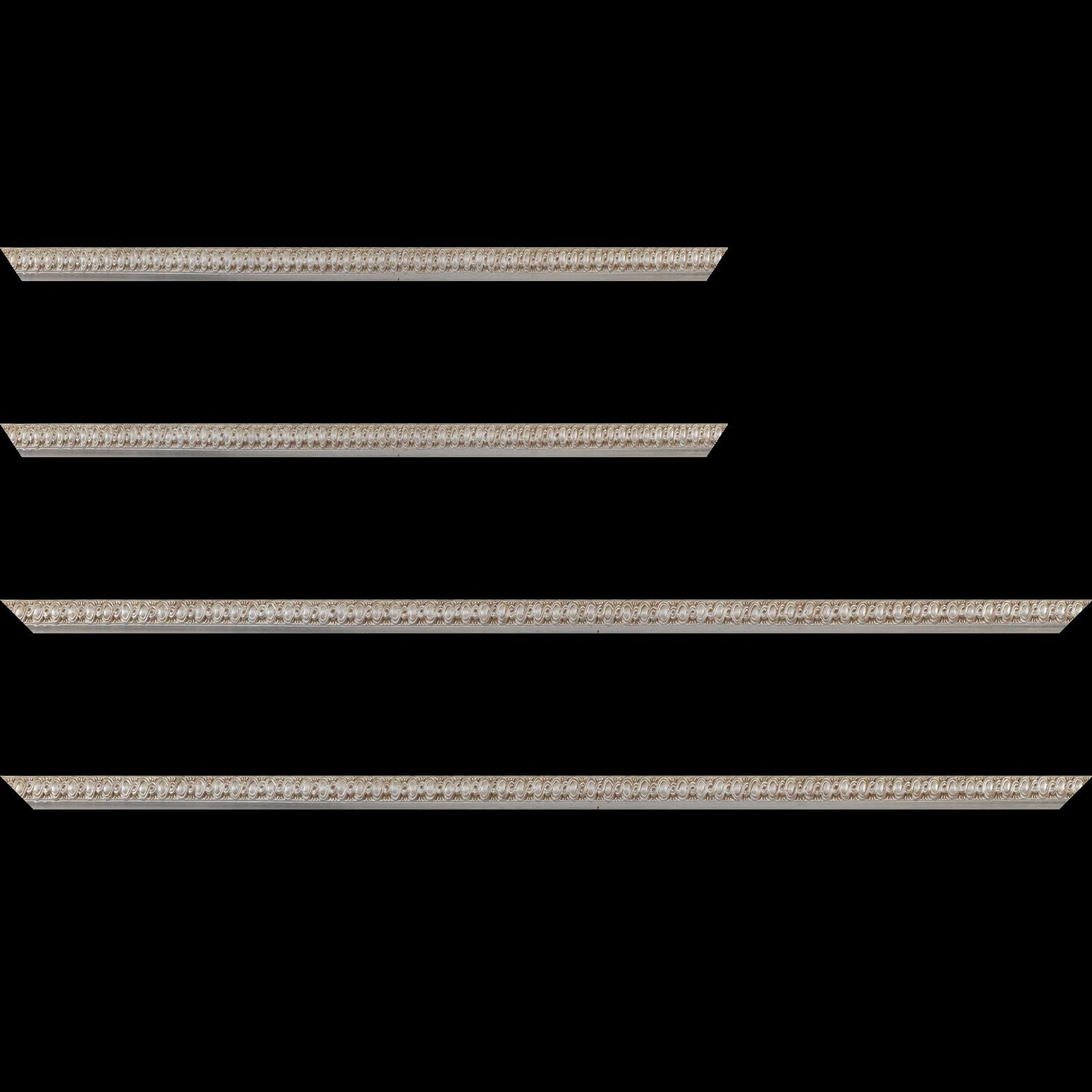 Baguette service précoupé Bois profil jonc largeur 1.5cm argent style décor entrelacé