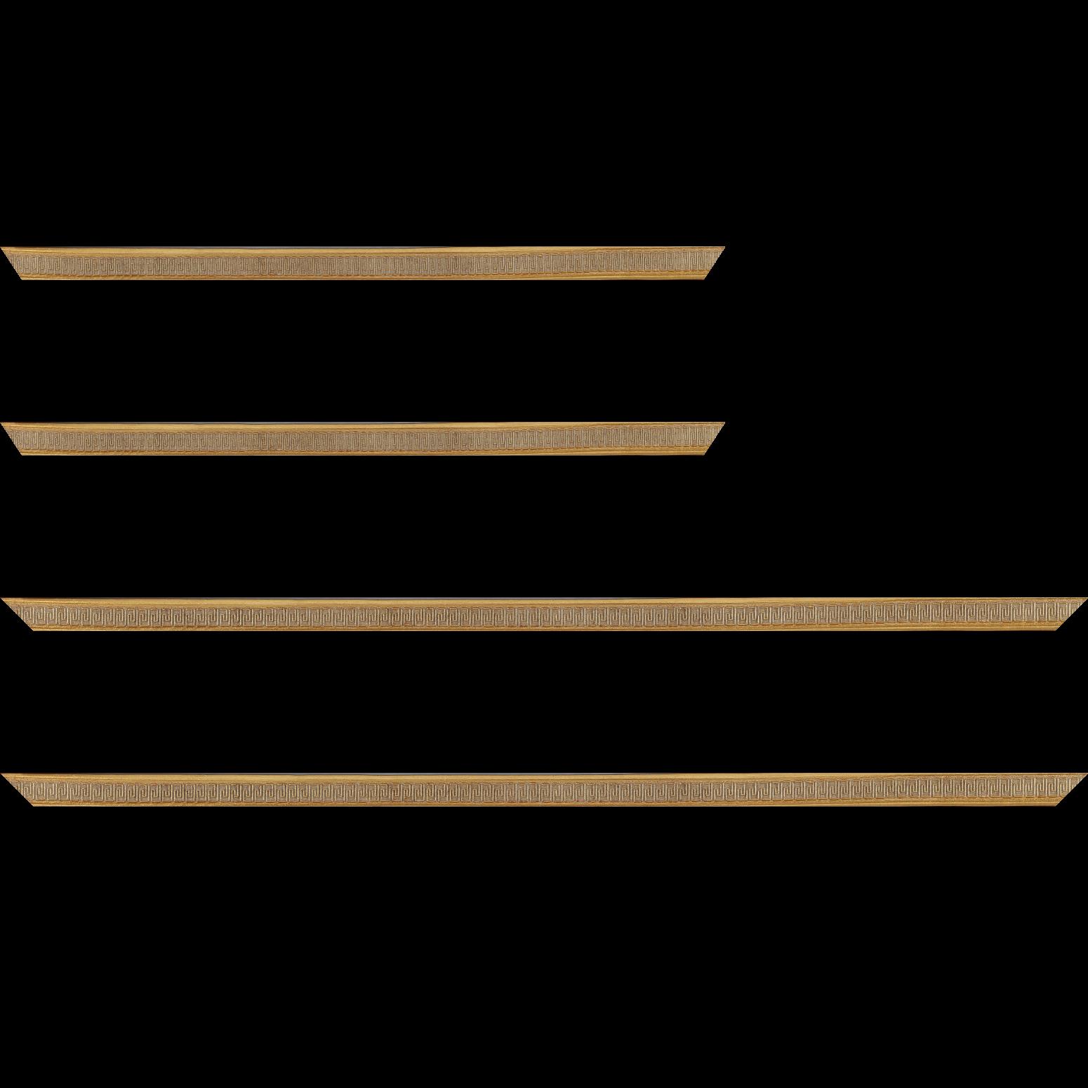 Baguette service précoupé Bois profil jonc largeur 1.6cm or style décor angulaire