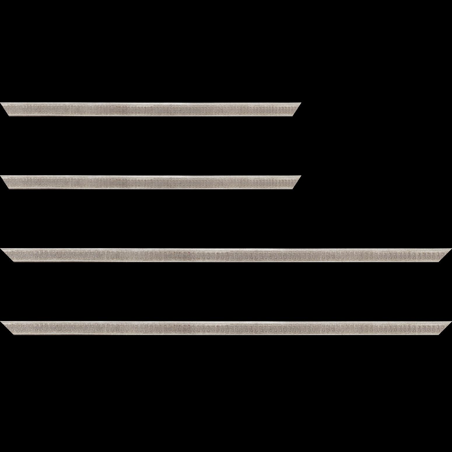 Baguette service précoupé Bois profil jonc largeur 1.6cm argent style décor angulaire
