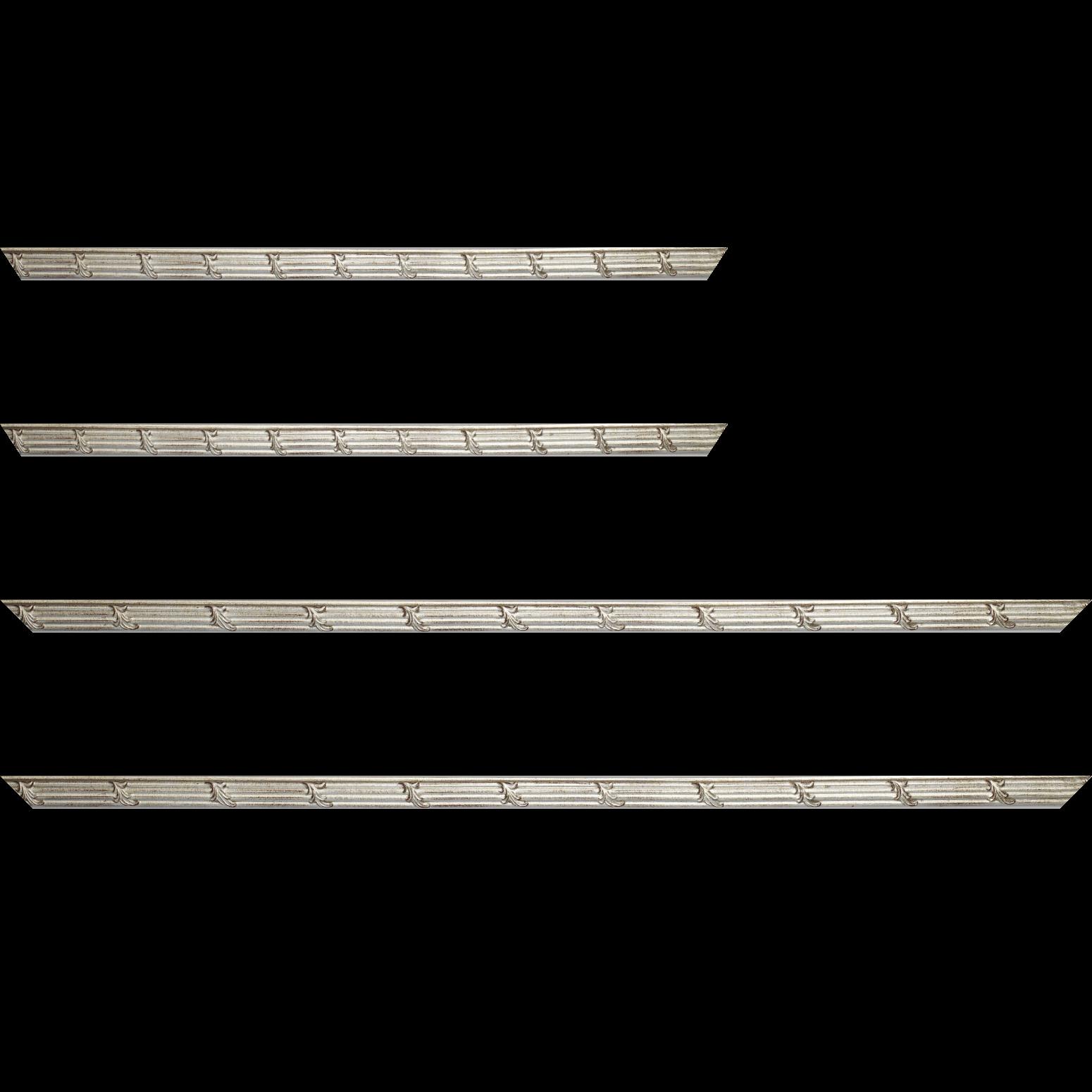 Baguette service précoupé Bois profil jonc largeur 1.5cm argent style décor feuille