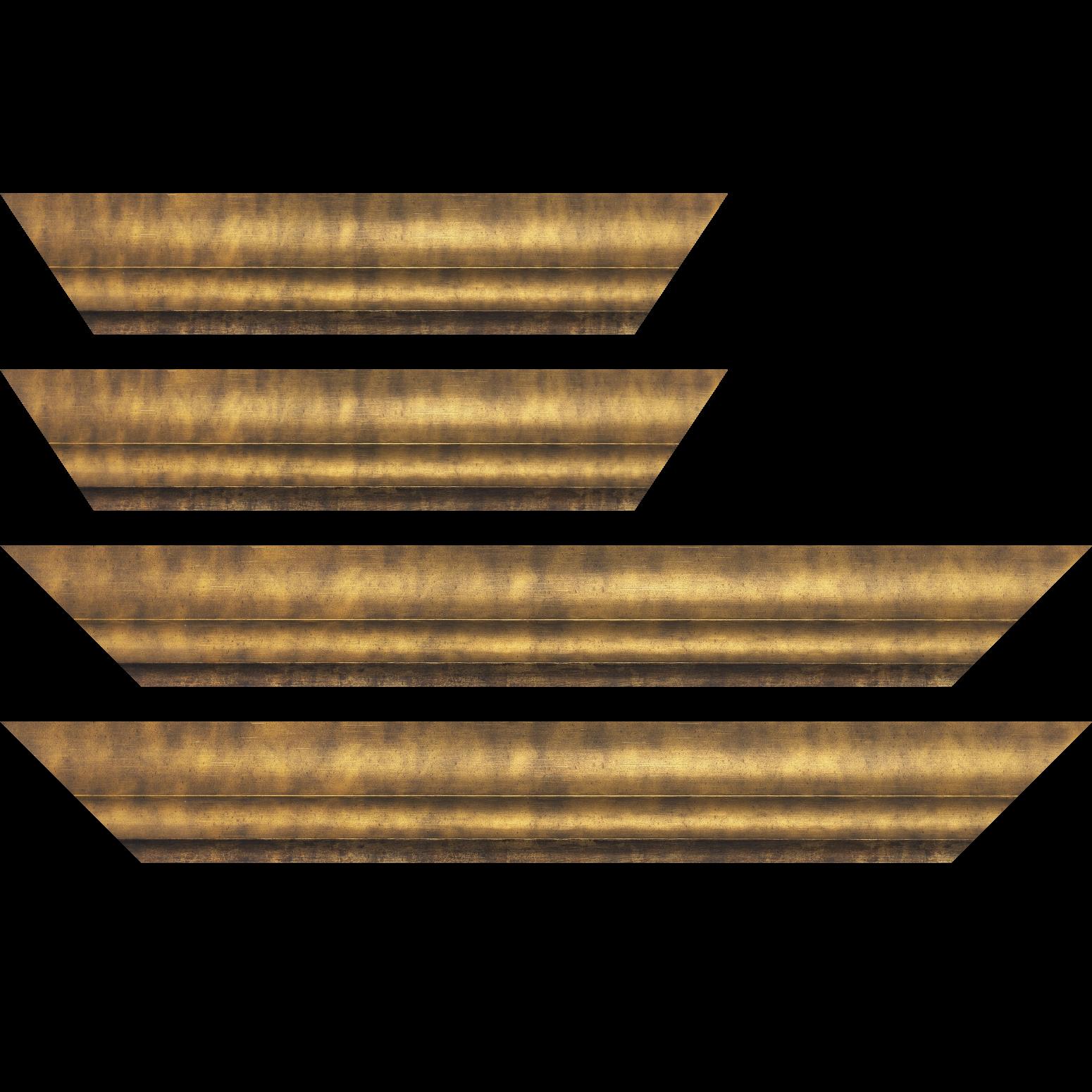 Baguette service précoupé Bois profil plat ondulé largeur 5.9cm bronze
