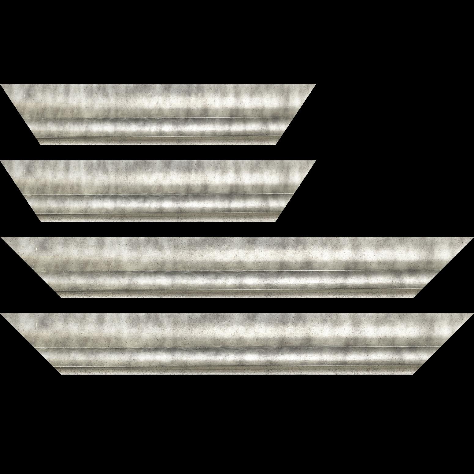 Baguette service précoupé Bois profil plat ondulé largeur 5.9cm argent chaud