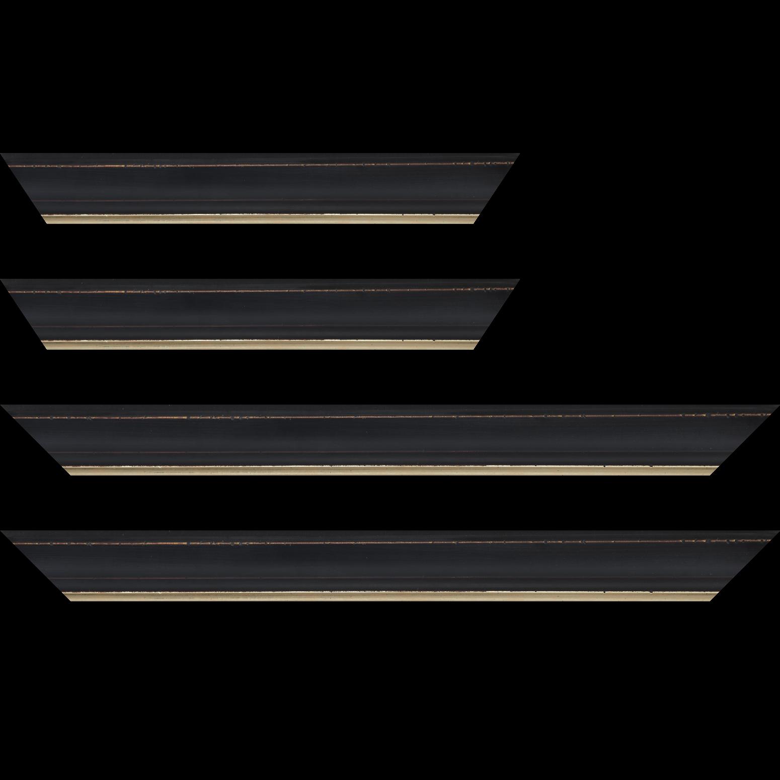 Baguette service précoupé Bois profil incurvé largeur 4.2cm couleur noir filet or fondu finition nature