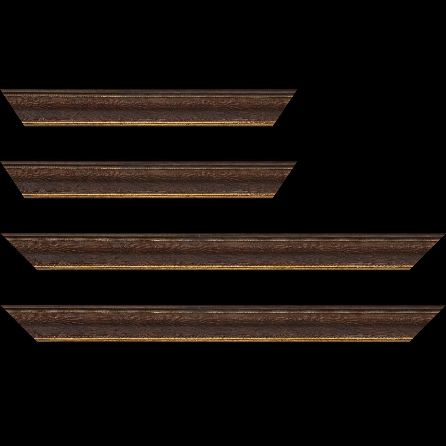 Baguette service précoupé Bois incurvé profil incurvé largeur 4.1cm couleur marron foncé aspect veiné liseret or