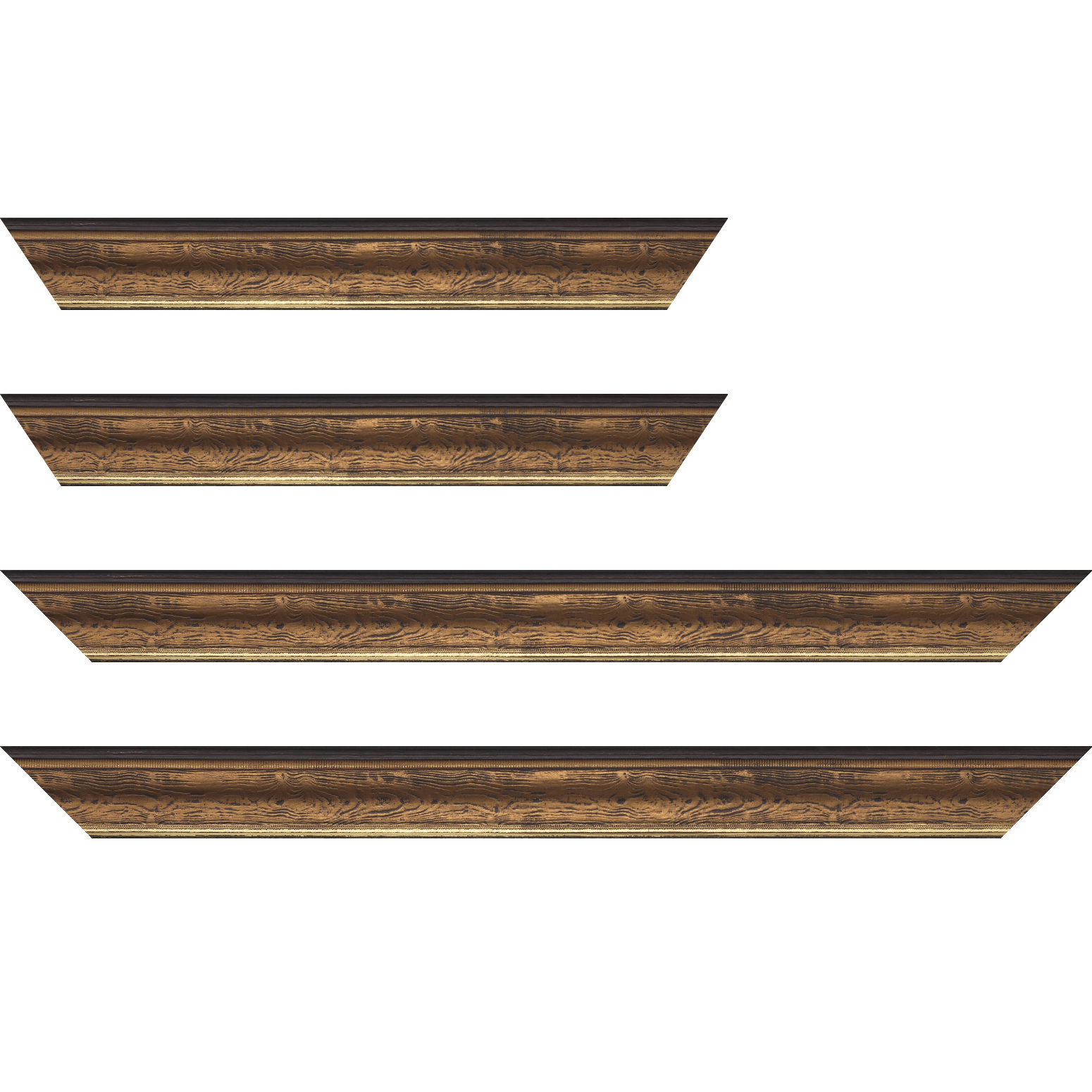 Baguette service précoupé Bois incurvé profil incurvé largeur 4.1cm couleur marron cuivré aspect veiné liseret or
