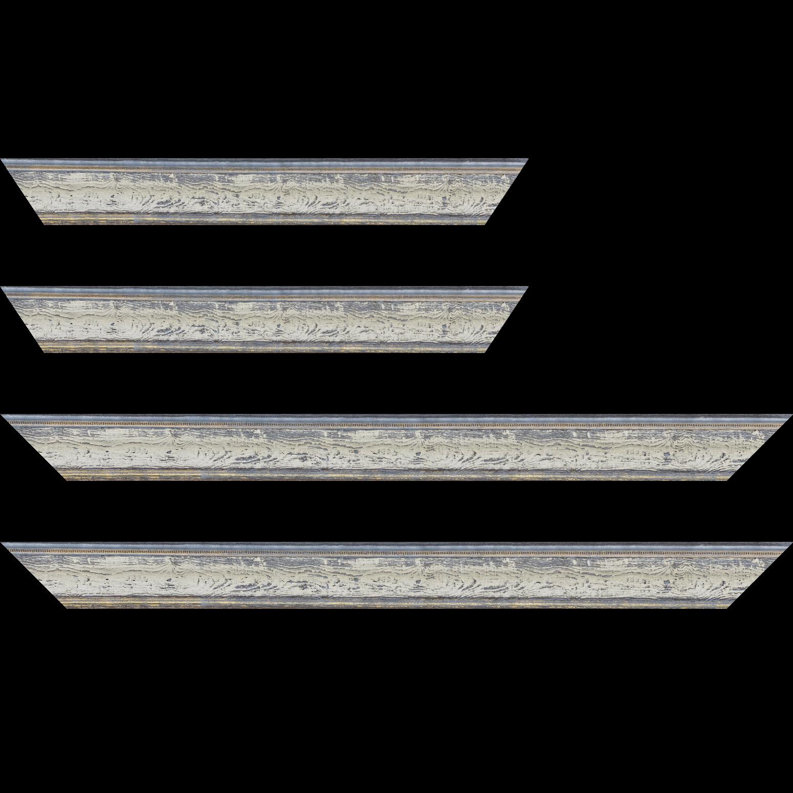 Baguette service précoupé Bois incurvé profil incurvé largeur 4.1cm couleur bleu blanchie aspect veiné liseret or