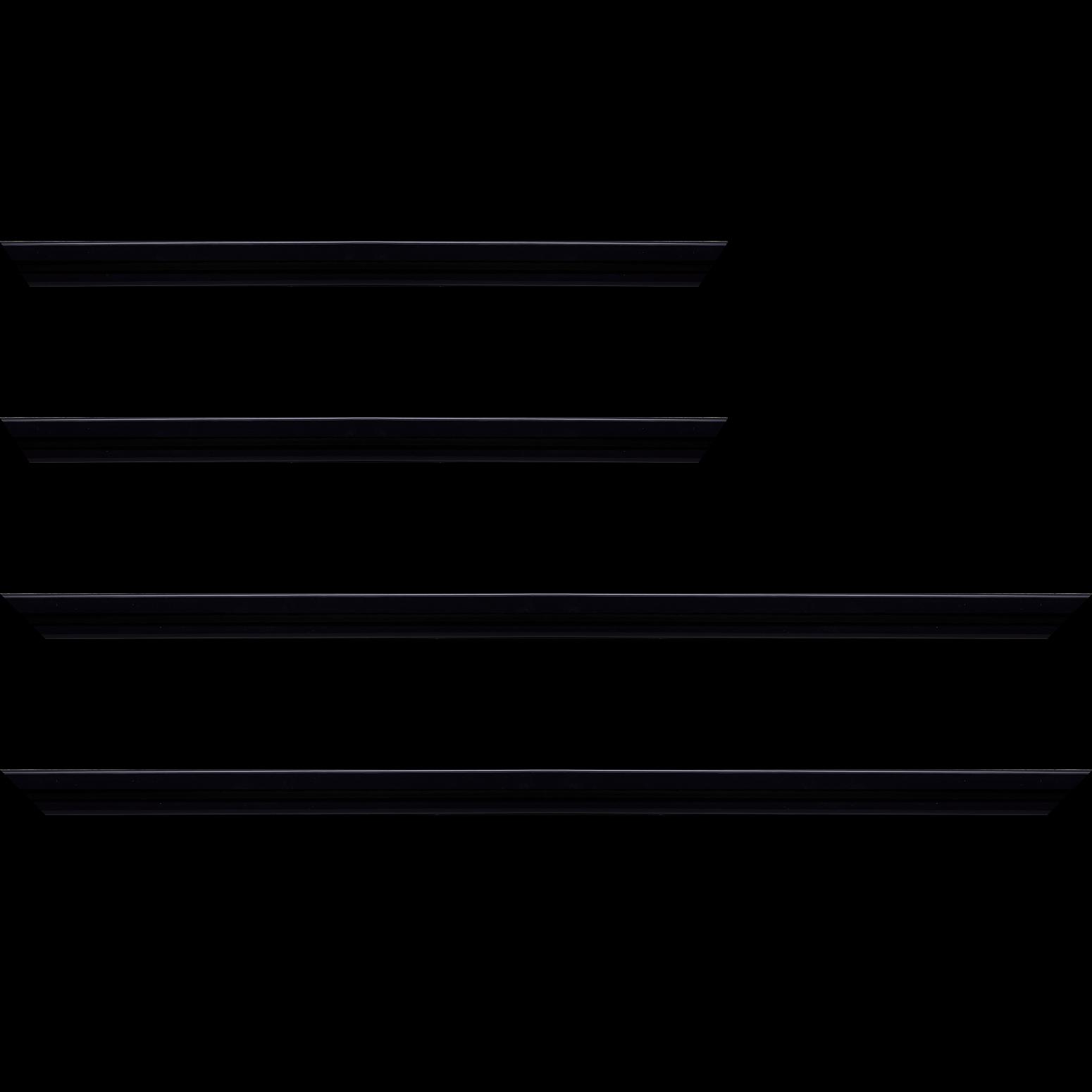 Baguette service précoupé Bois profil méplat largeur 2.3cm couleur bleu nuit très foncé laqué