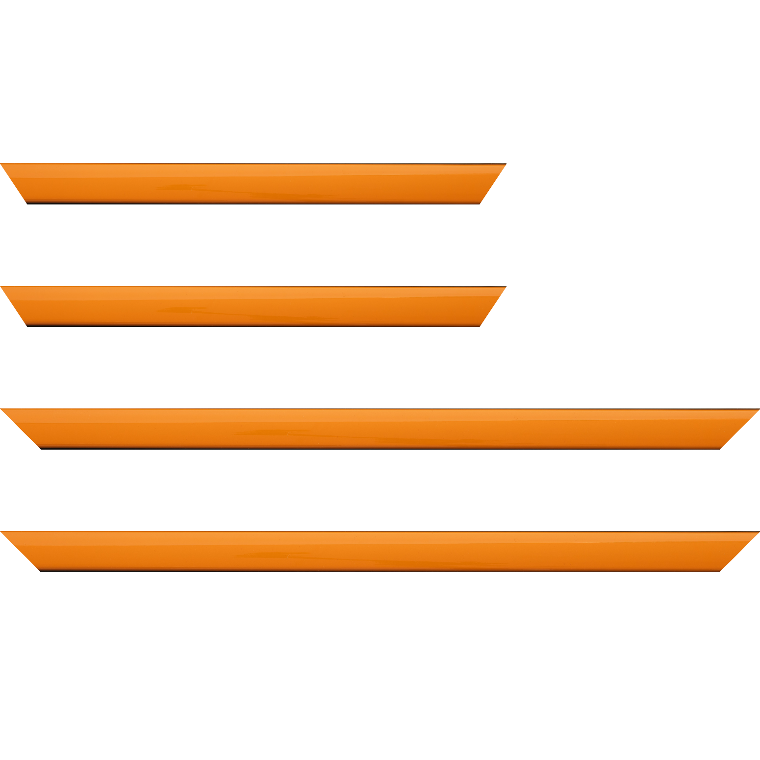 Baguette service précoupé Bois profil méplat largeur 2.3cm couleur orange laqué