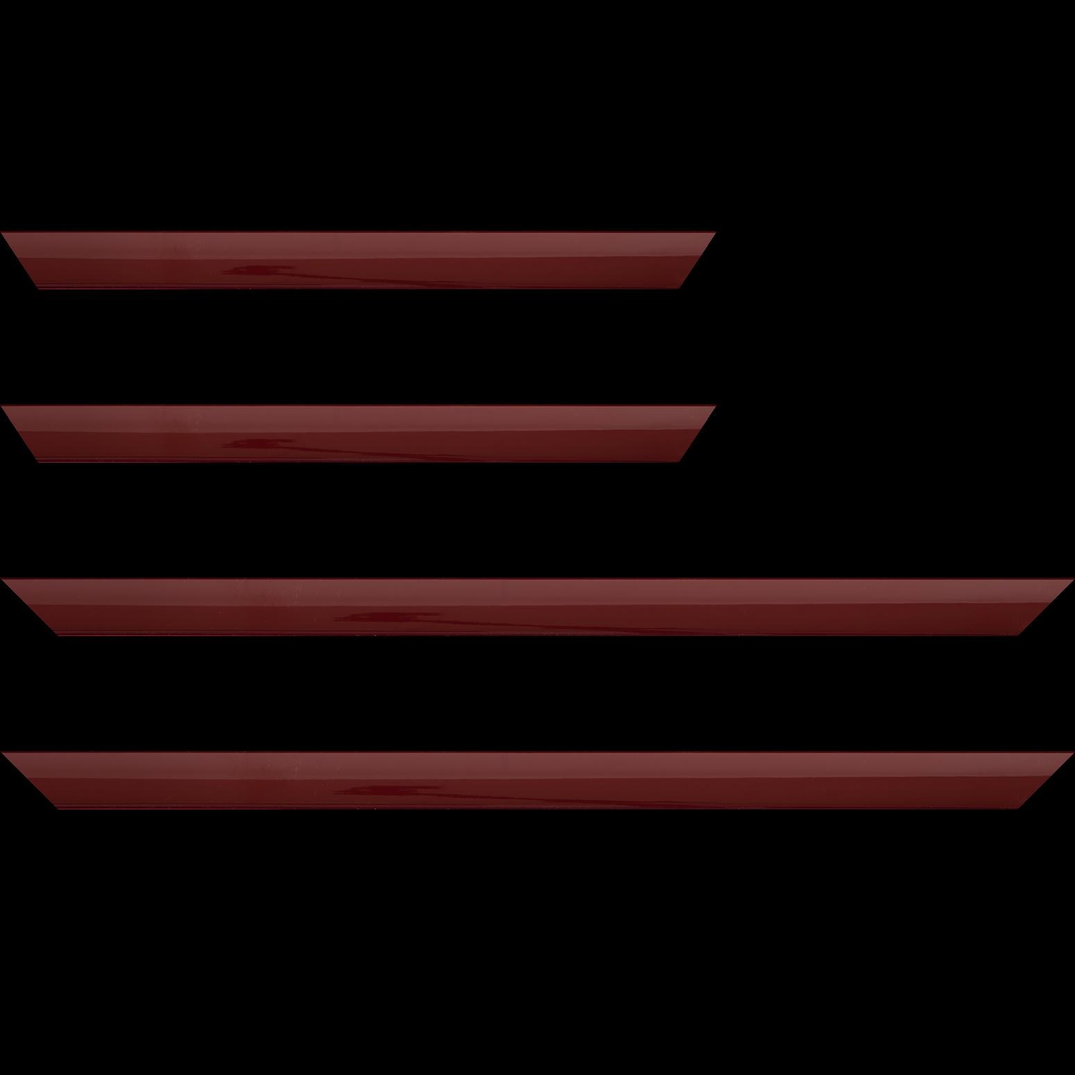 Baguette service précoupé Bois profil méplat largeur 2.3cm couleur bordeaux laqué