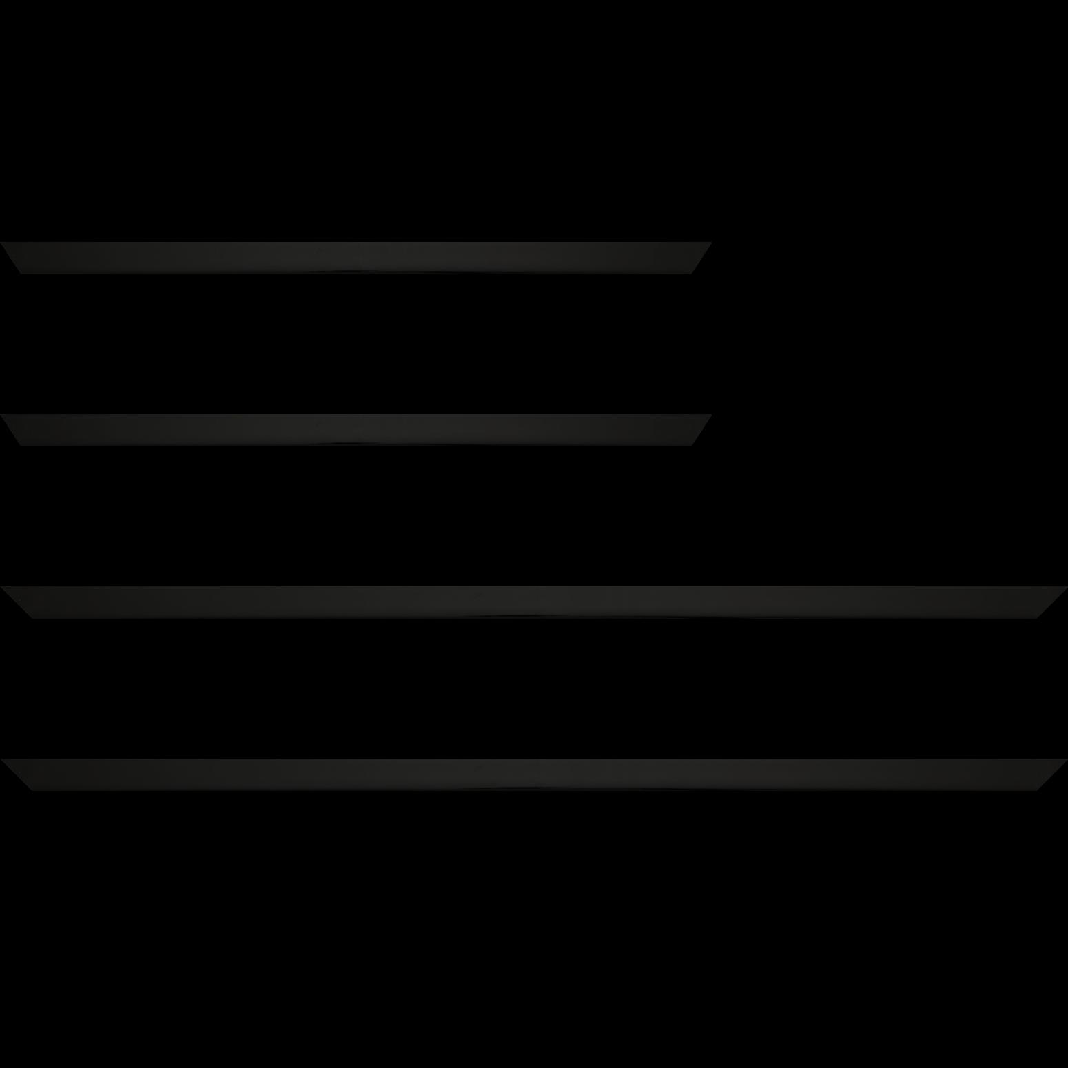Baguette service précoupé Bois profil méplat largeur 1.4cm couleur noir laqué