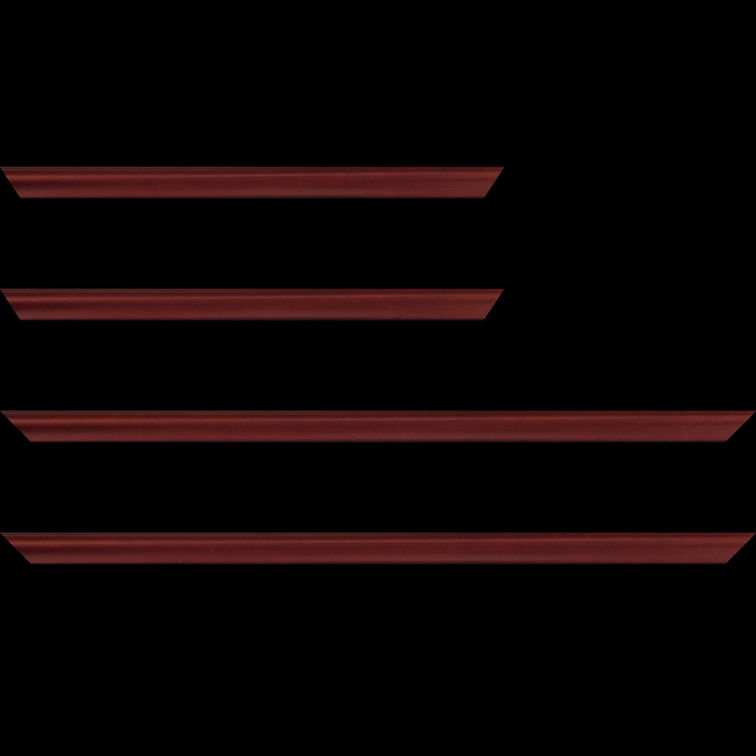 Baguette service précoupé Bois profil incuvé largeur 2.1cm couleur bordeaux satiné