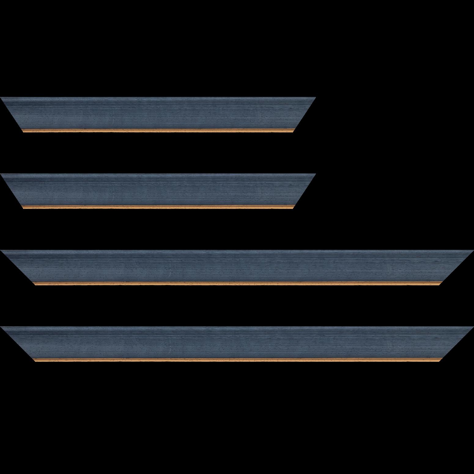 Baguette service précoupé Bois profil incurvé largeur 3.9cm couleur bleu pétrole  satiné filet or