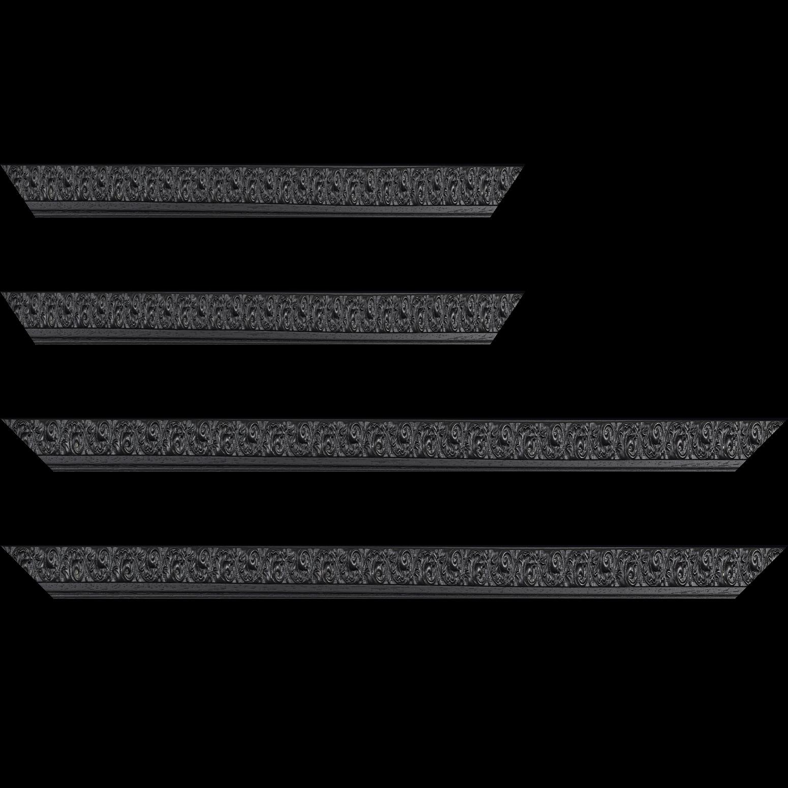 Baguette service précoupé Bois profil plat largeur 3.5cm couleur noir antique satiné décor frise