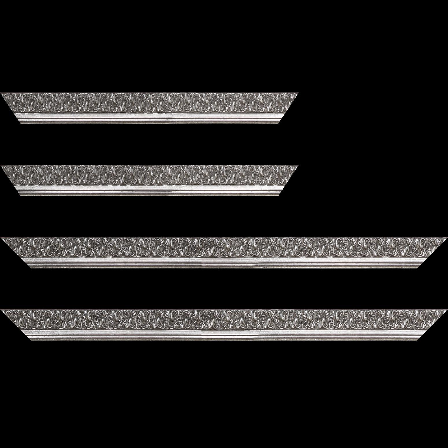 Baguette service précoupé Bois profil plat largeur 3.5cm argent froid antique satiné décor frise