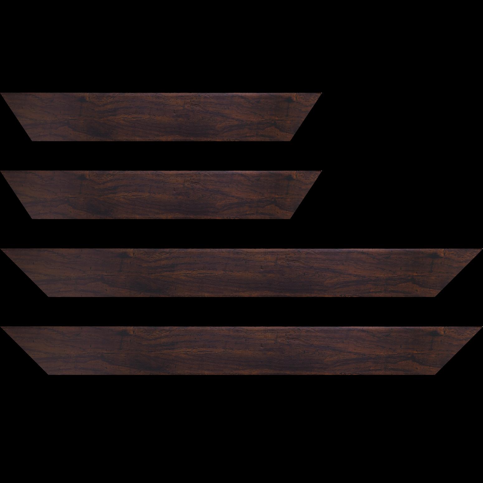 Baguette service précoupé Bois profil plat largeur 5.1cm couleur noyer finition antique