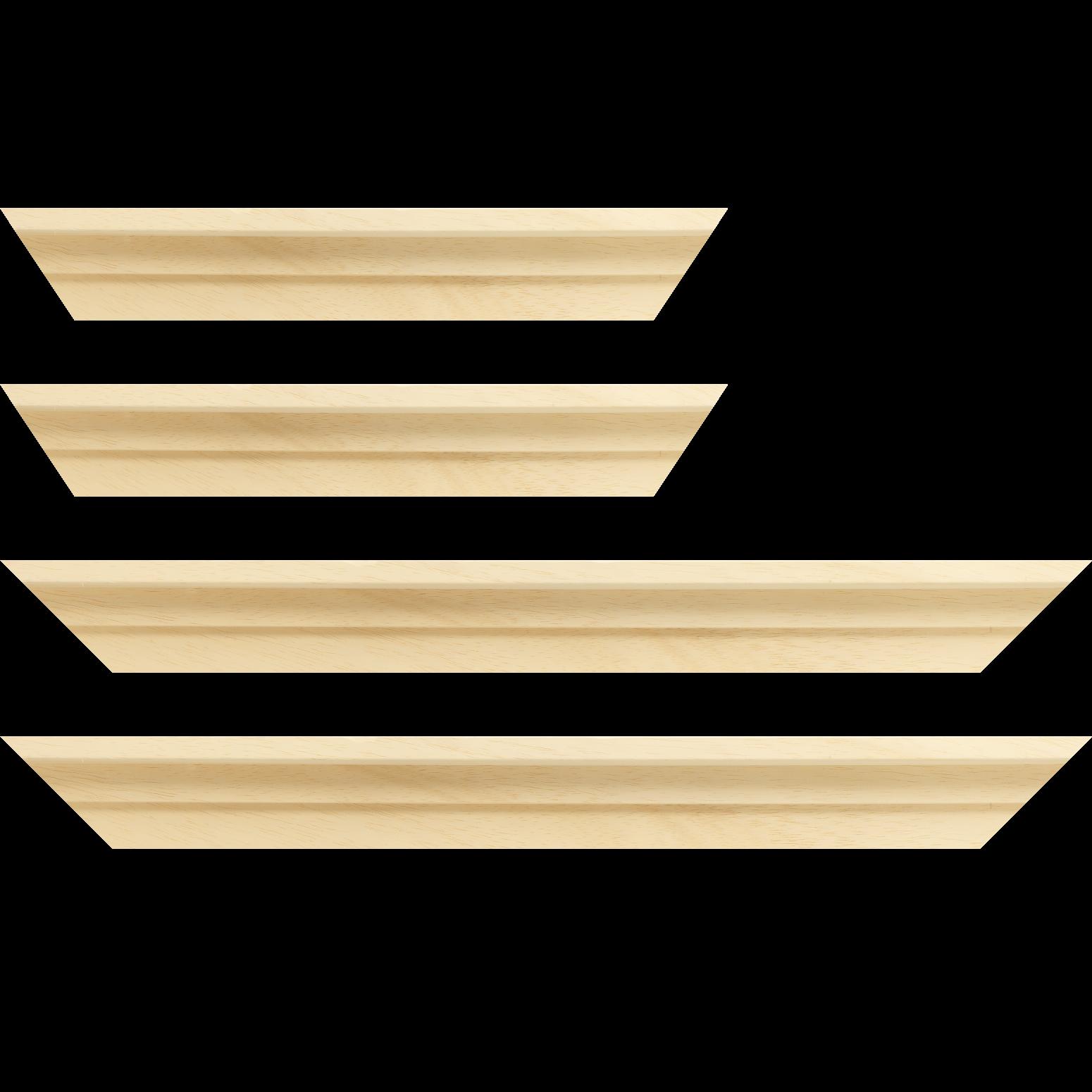 Baguette service précoupé Bois caisse américaine profil escalier largeur 4.5cm naturel brut (spécialement conçu pour les châssis d'une épaisseur jusqu'à 2.5cm ) sans vernis,peut être peint...