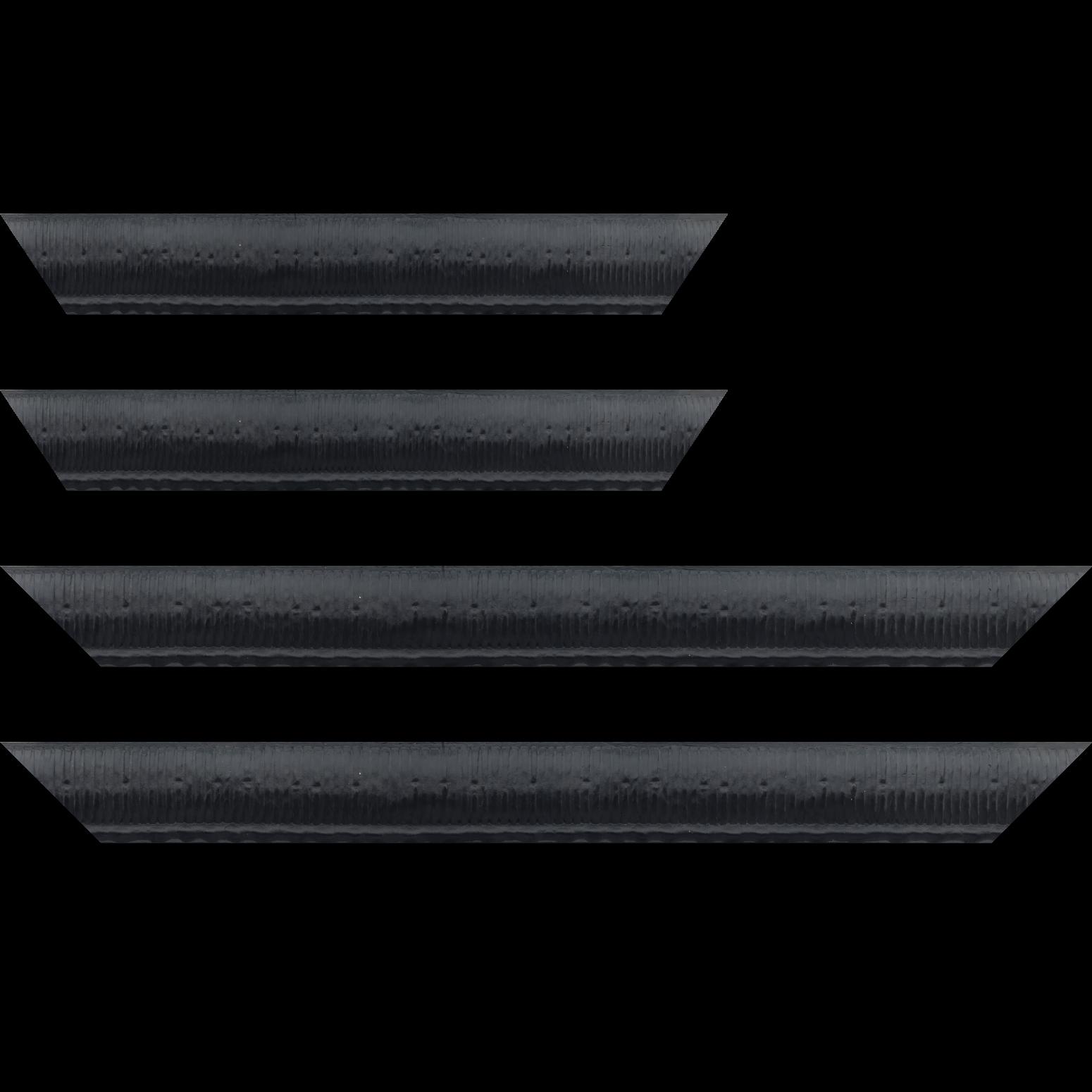 Baguette service précoupé bois profil arrondi largeur 4.8cm couleur noir satiné décor bambou