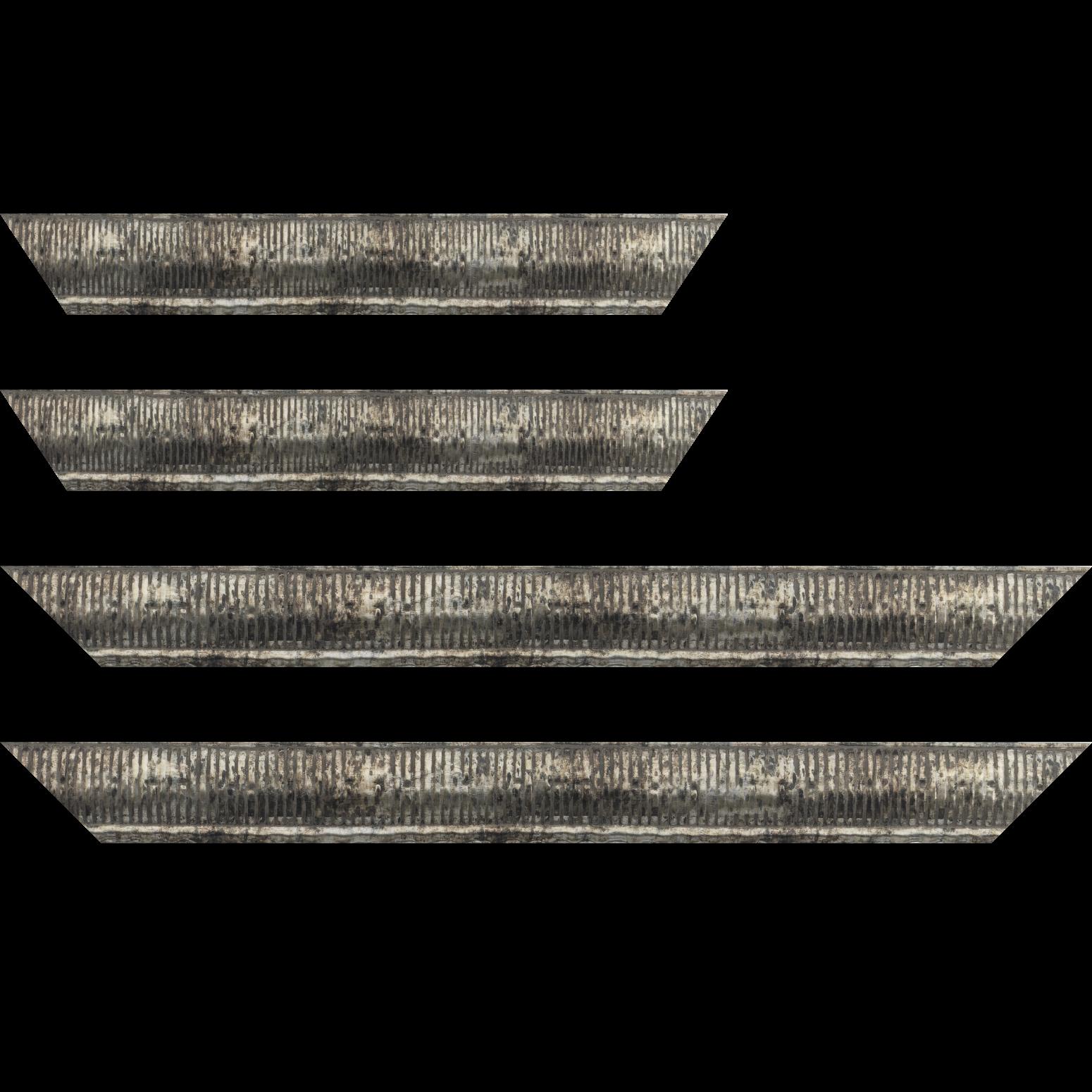 Baguette service précoupé bois profil arrondi largeur 4.8cm couleur argent noirci décor bambou