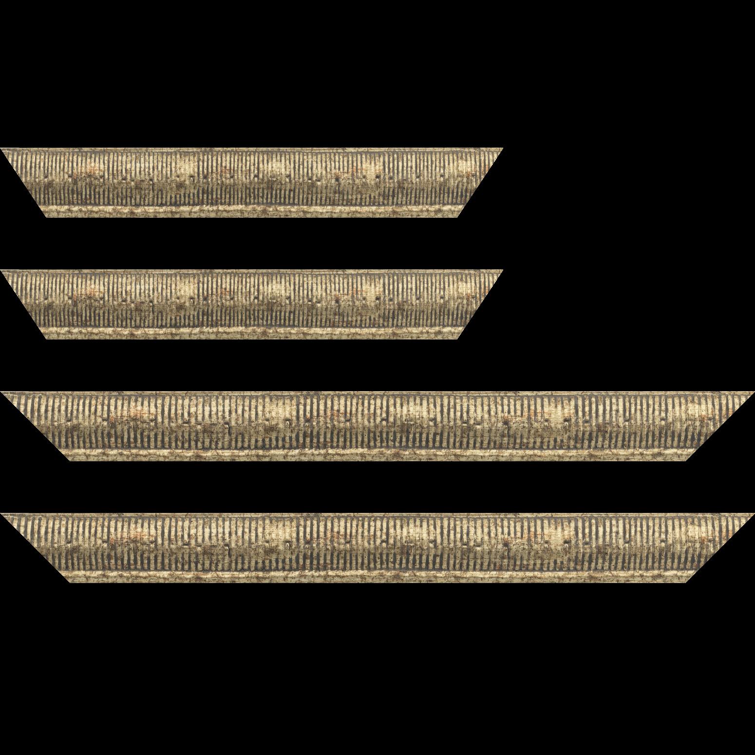 Baguette service précoupé bois profil arrondi largeur 4.8cm couleur or noirci décor bambou