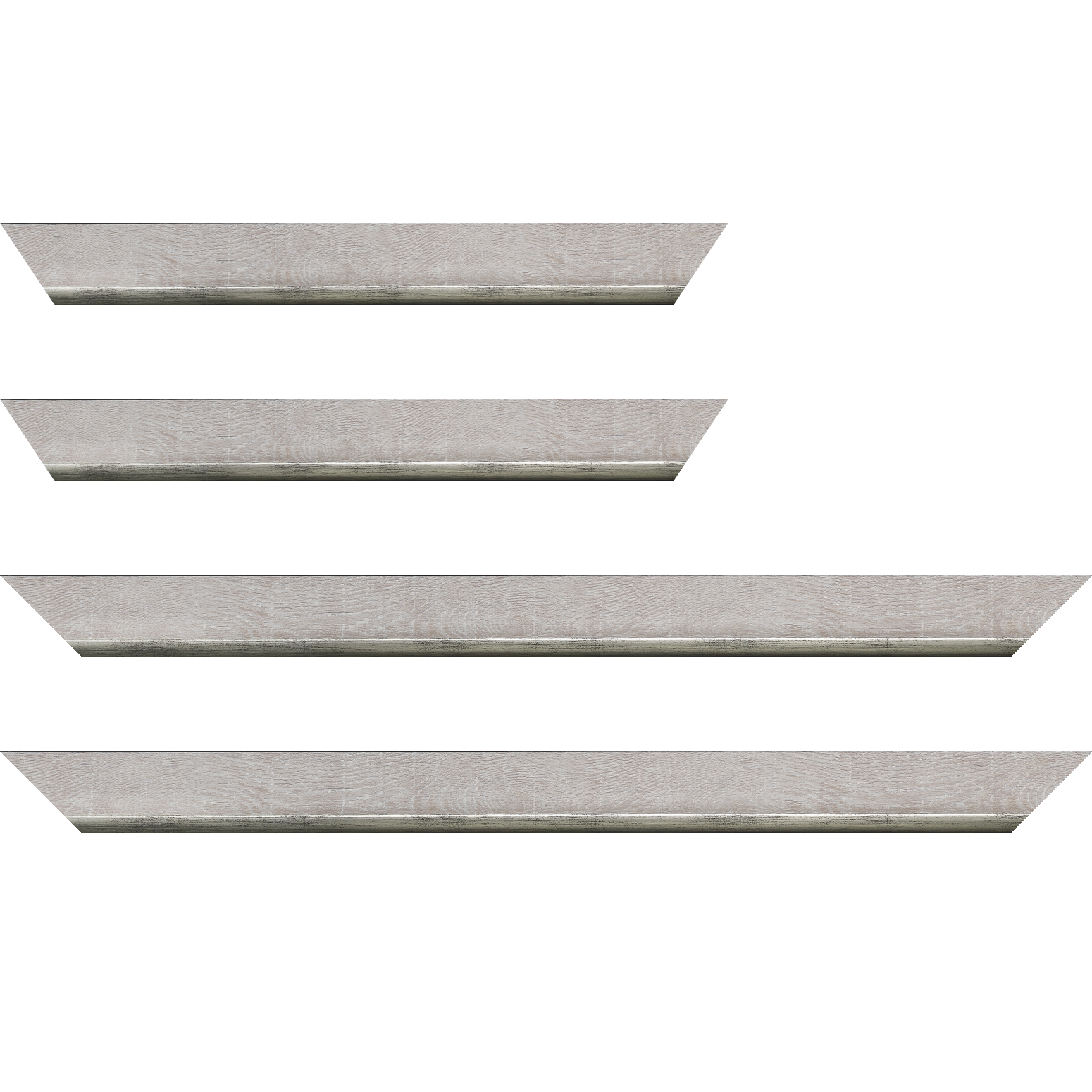 Baguette service précoupé Bois profil plat en pente largeur 3.5cm de couleur ton bois veiné teinté gris  filet argent chaud