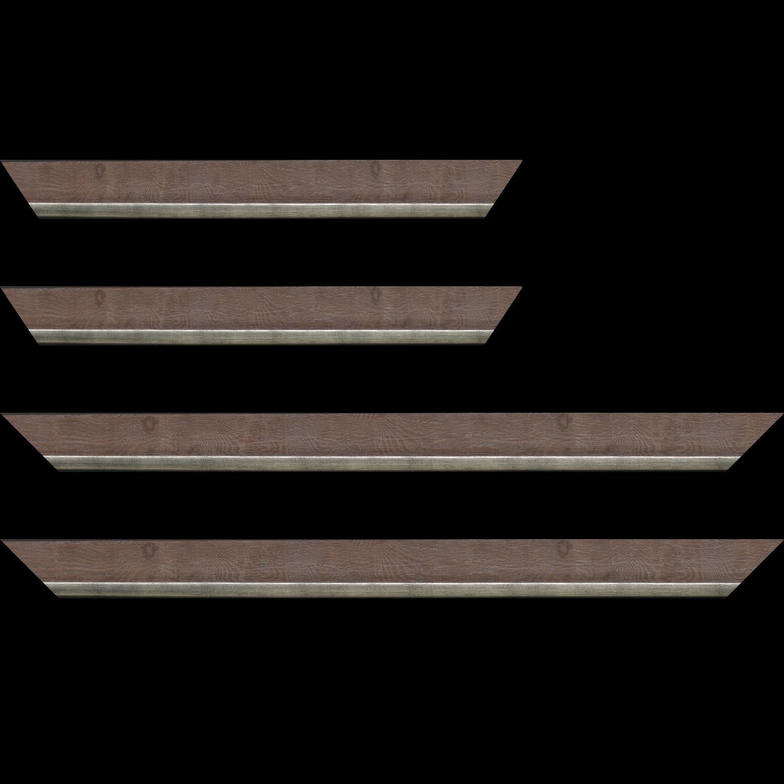 Baguette service précoupé Bois profil plat en pente largeur 3.5cm de couleur ton bois veiné teinté marron clair filet argent chaud