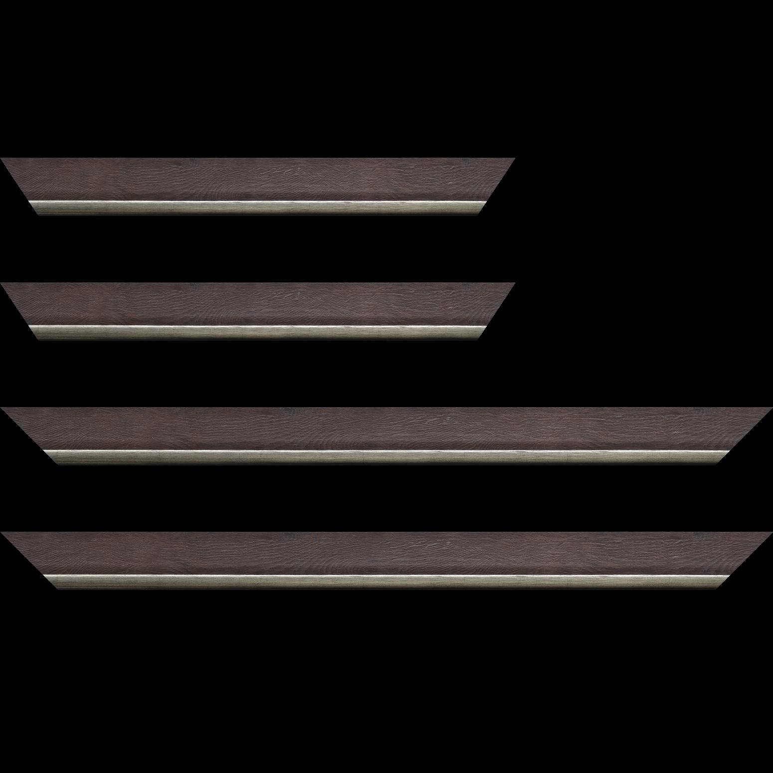 Baguette service précoupé Bois profil plat en pente largeur 3.5cm de couleur ton bois veiné teinté marron foncé filet argent chaud