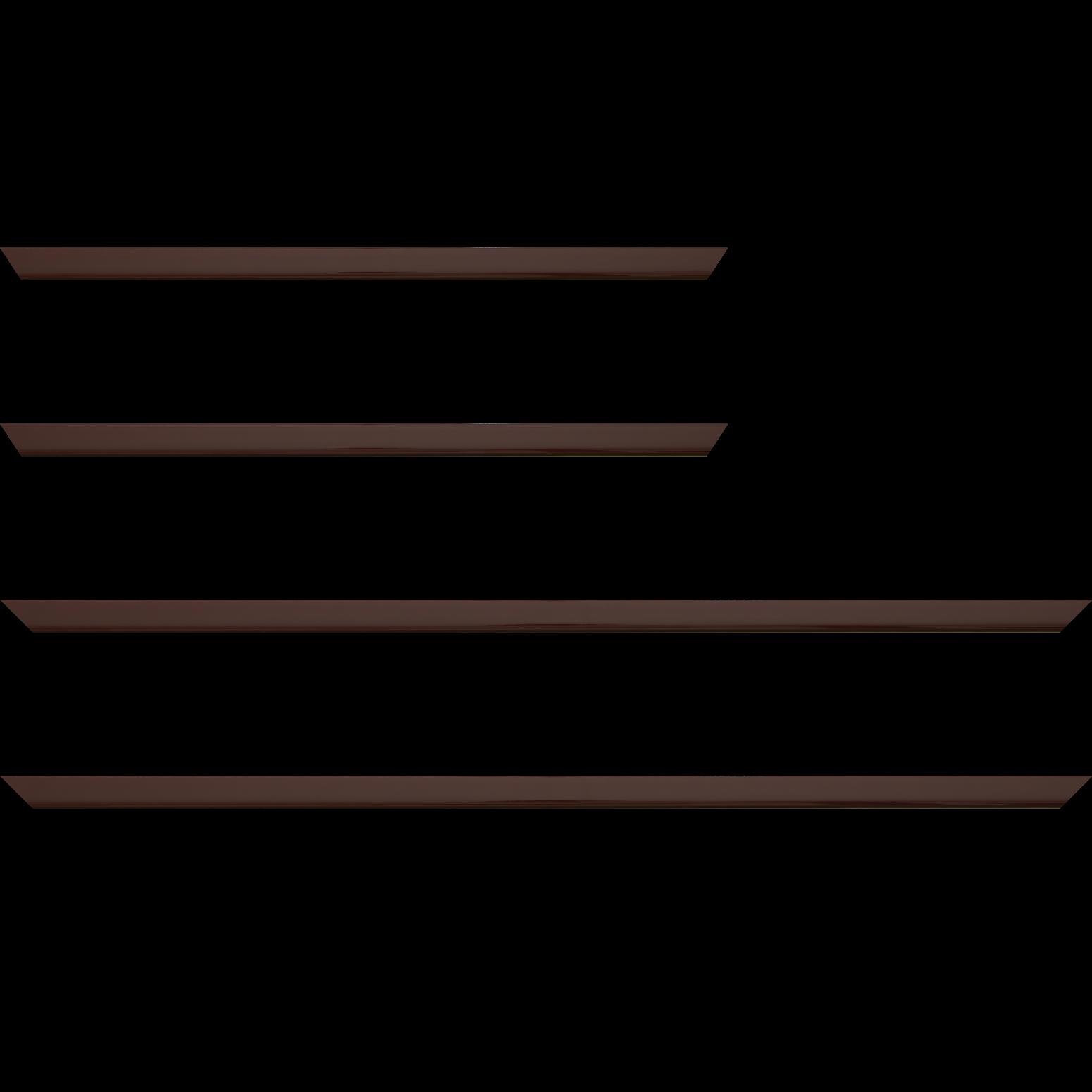 Baguette service précoupé Bois profil méplat largeur 1.4cm couleur bordeaux laqué