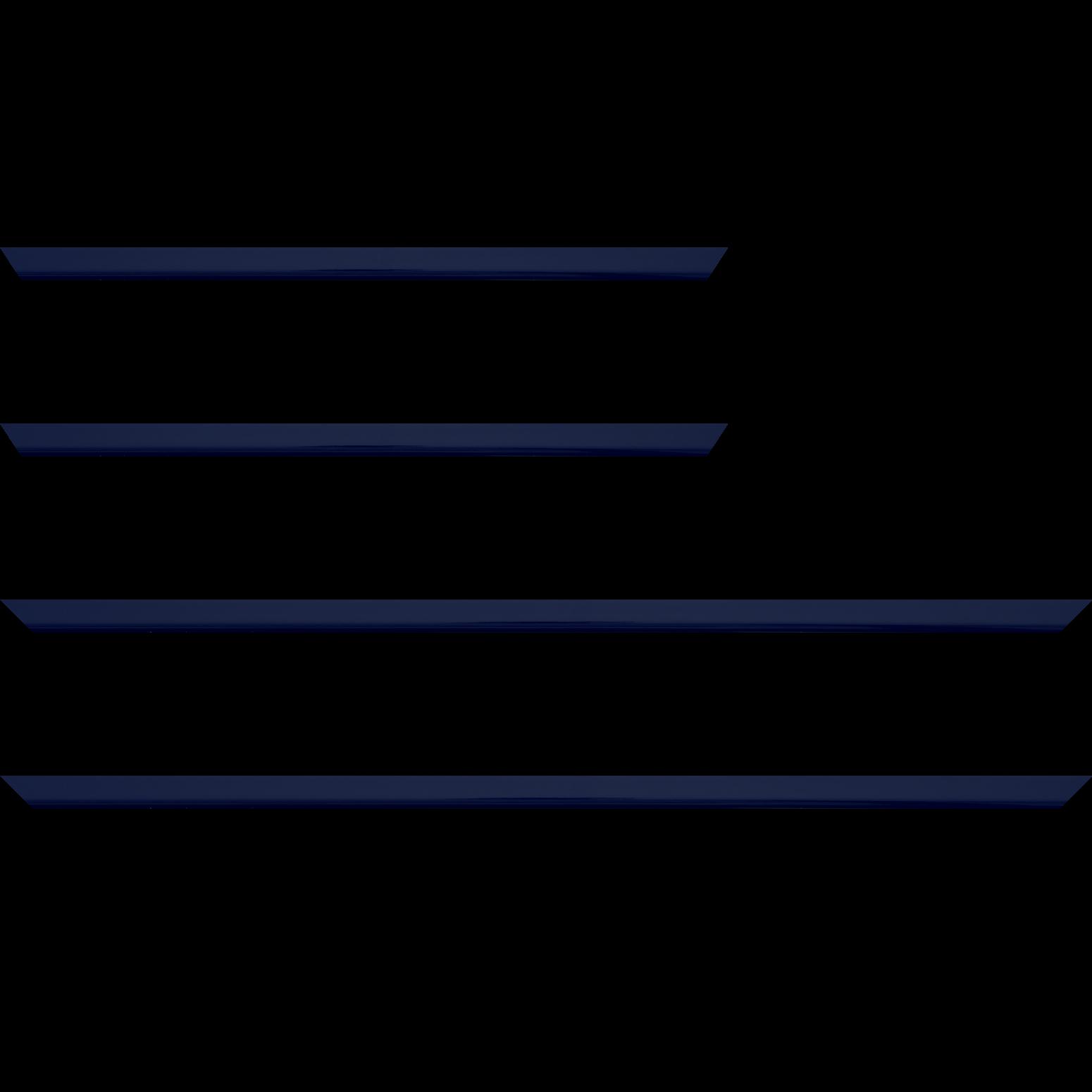 Baguette service précoupé Bois profil méplat largeur 1.4cm couleur bleu nuit foncé laqué
