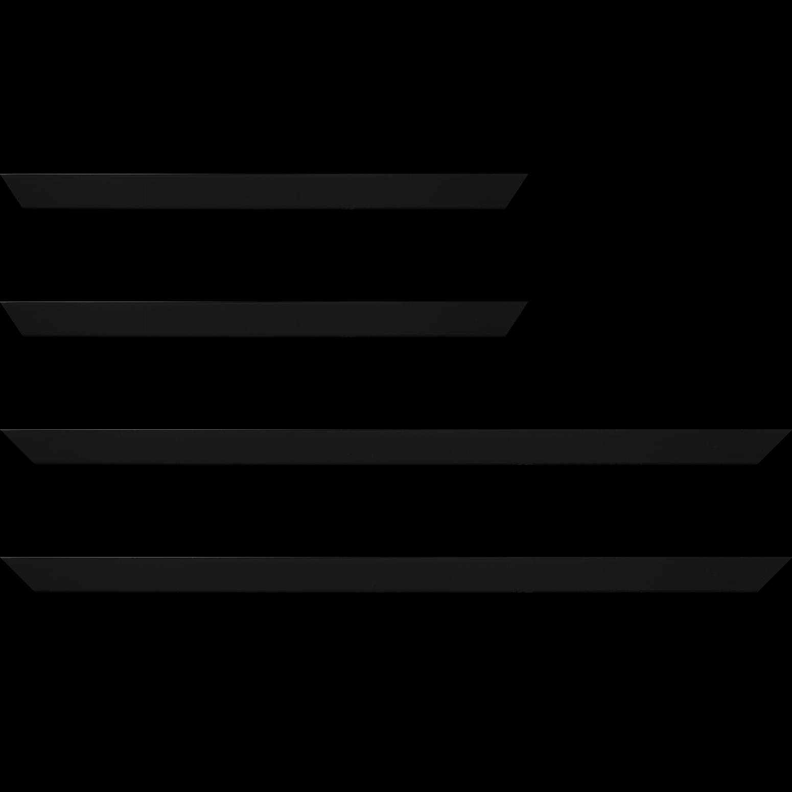 Baguette service précoupé Bois profil plat effet cube largeur 2cm couleur noir mat finition pore bouché