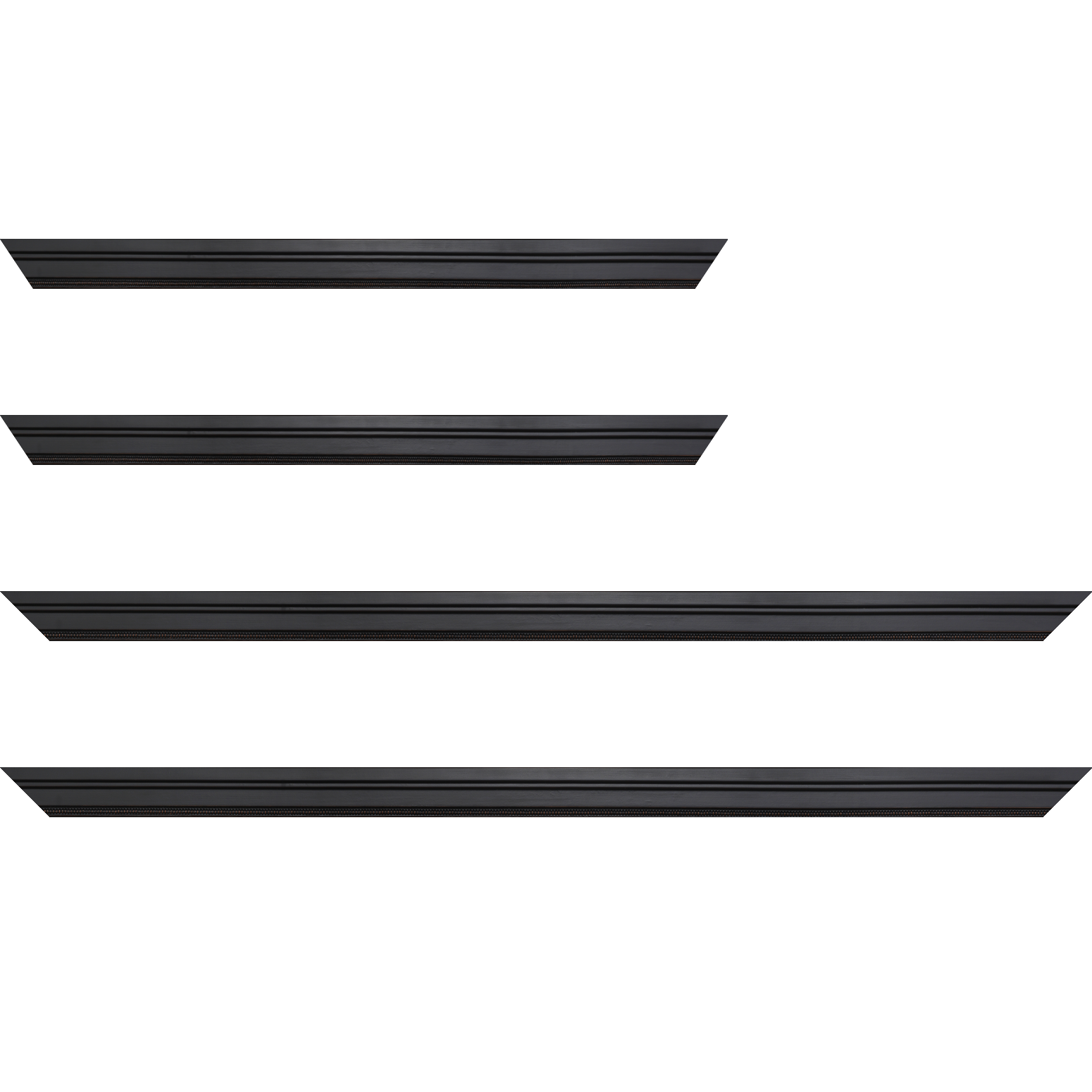 Baguette service précoupé Bois profil plat en étage largeur 2.2cm couleur noir ébène filet perle