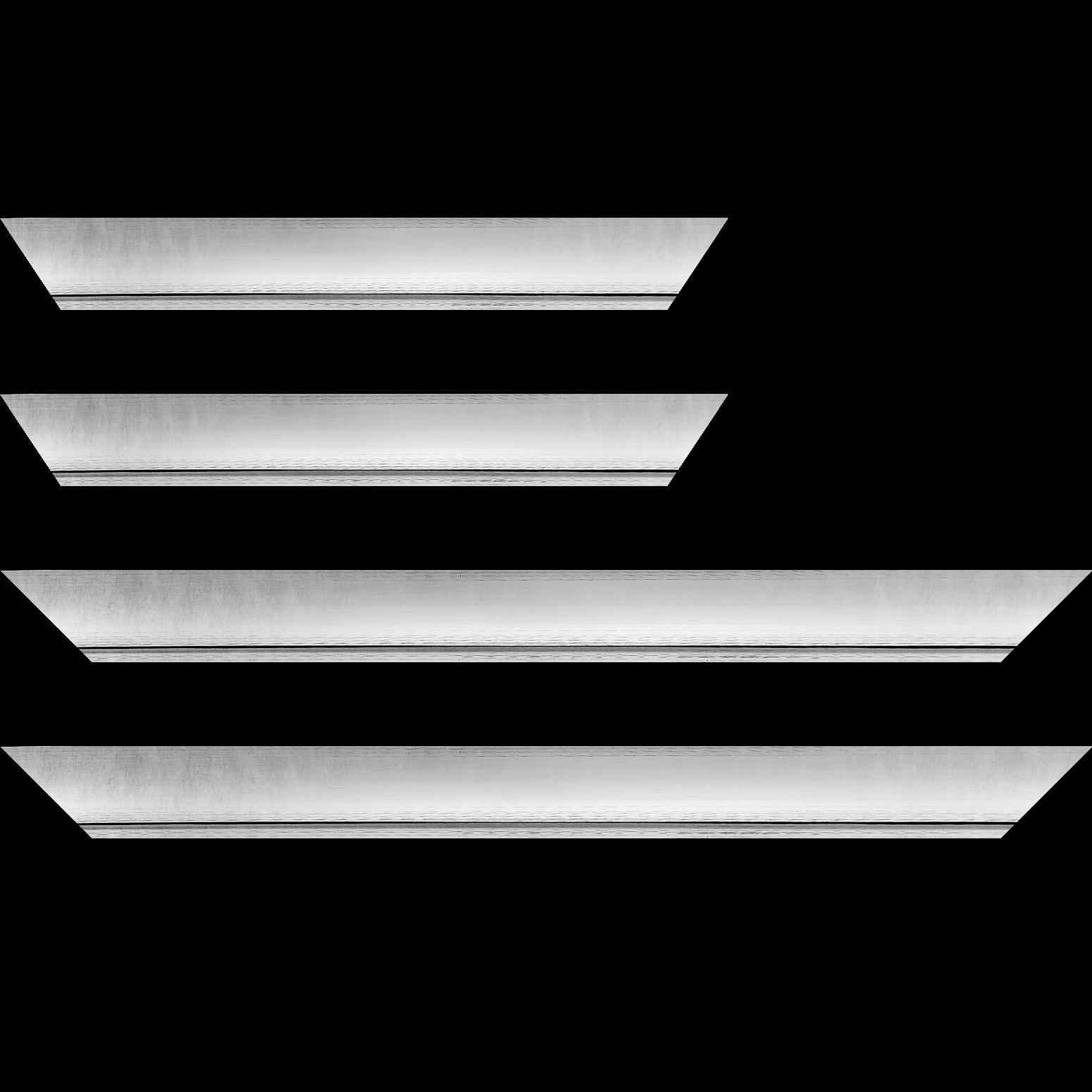Baguette service précoupé Bois profil incurvé largeur 4.2cm couleur argent froid  effet givré