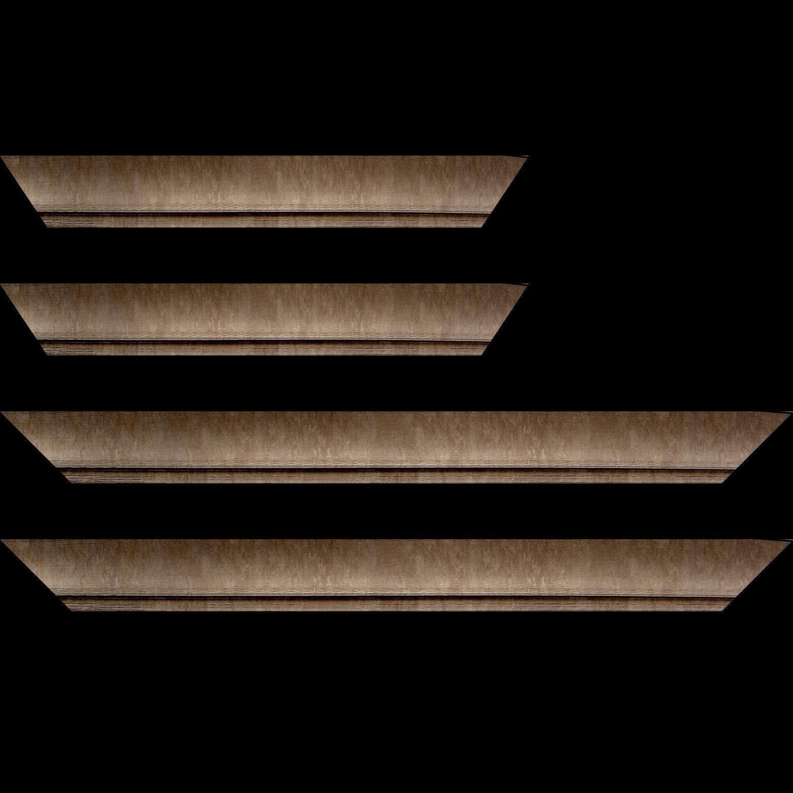 Baguette service précoupé Bois profil incurvé largeur 4.2cm couleur cuivre effet givré