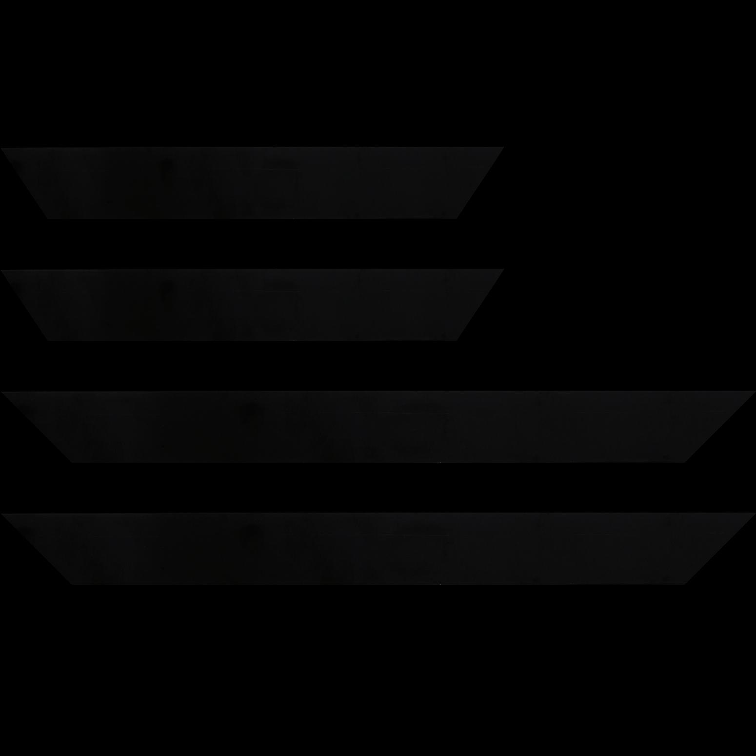 Baguette service précoupé Bois profil plat effet cube largeur 4.4cm couleur noir mat  finition pore bouché